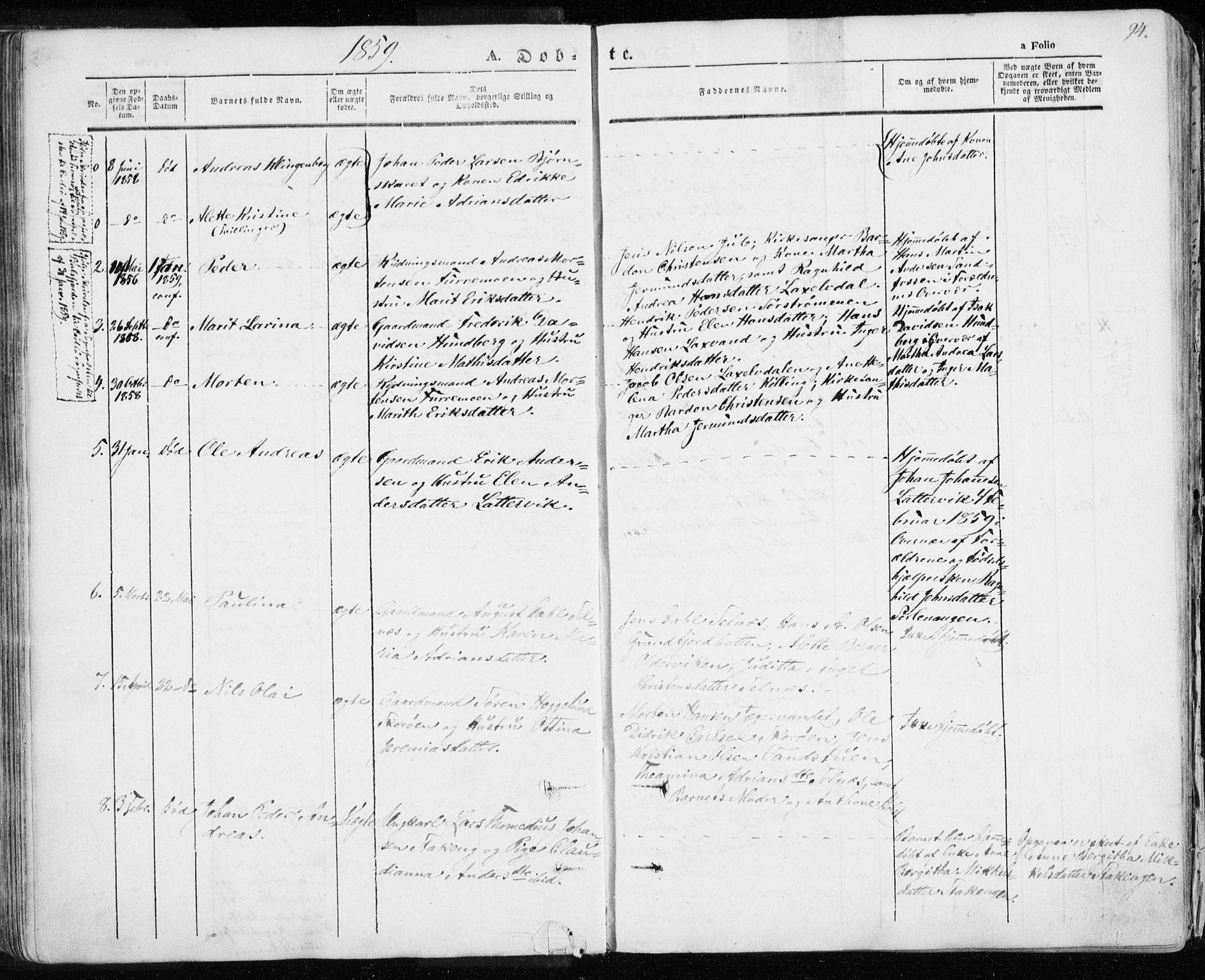 SATØ, Karlsøy sokneprestembete, H/Ha/Haa/L0003kirke: Ministerialbok nr. 3, 1843-1860, s. 94