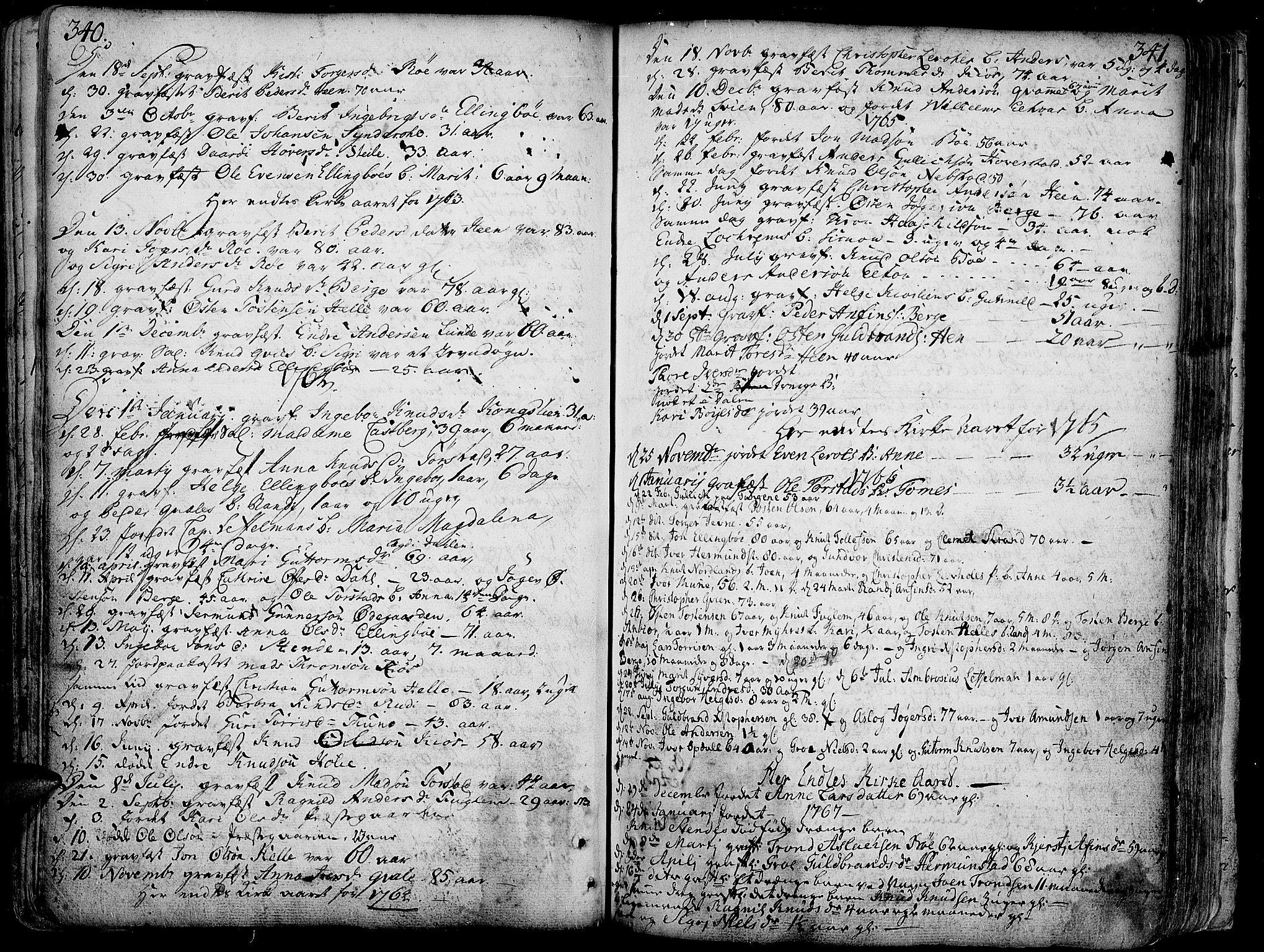 SAH, Vang prestekontor, Valdres, Ministerialbok nr. 1, 1730-1796, s. 340-341