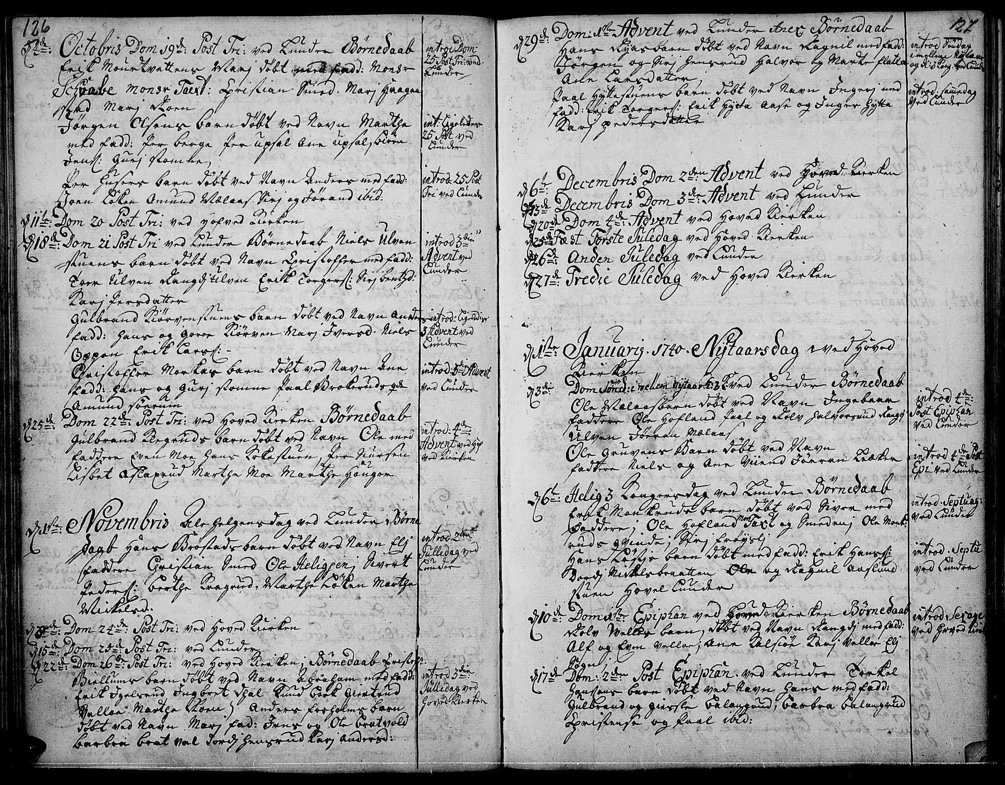 SAH, Jevnaker prestekontor, Ministerialbok nr. 2, 1725-1751, s. 126-127