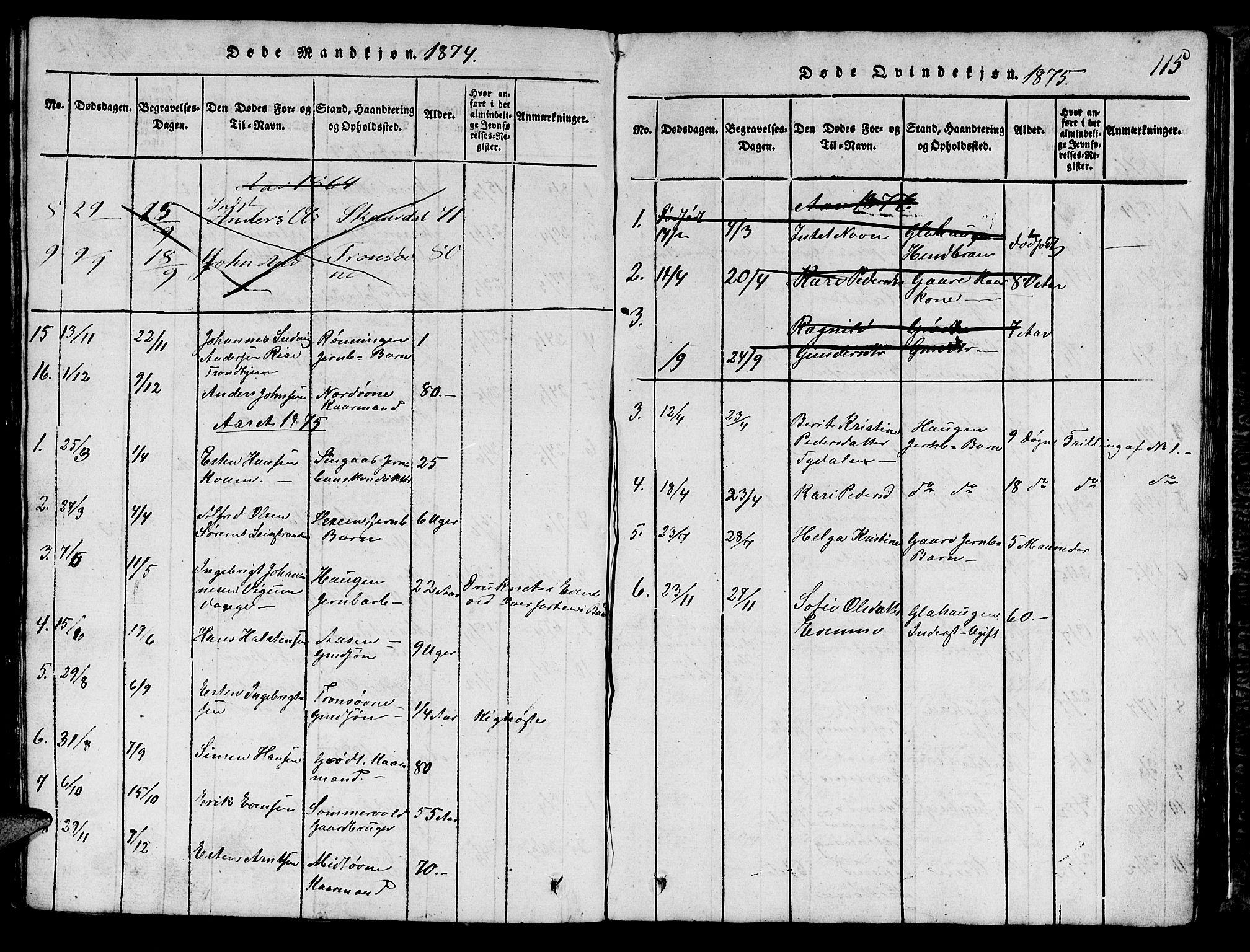SAT, Ministerialprotokoller, klokkerbøker og fødselsregistre - Sør-Trøndelag, 685/L0976: Klokkerbok nr. 685C01, 1817-1878, s. 115