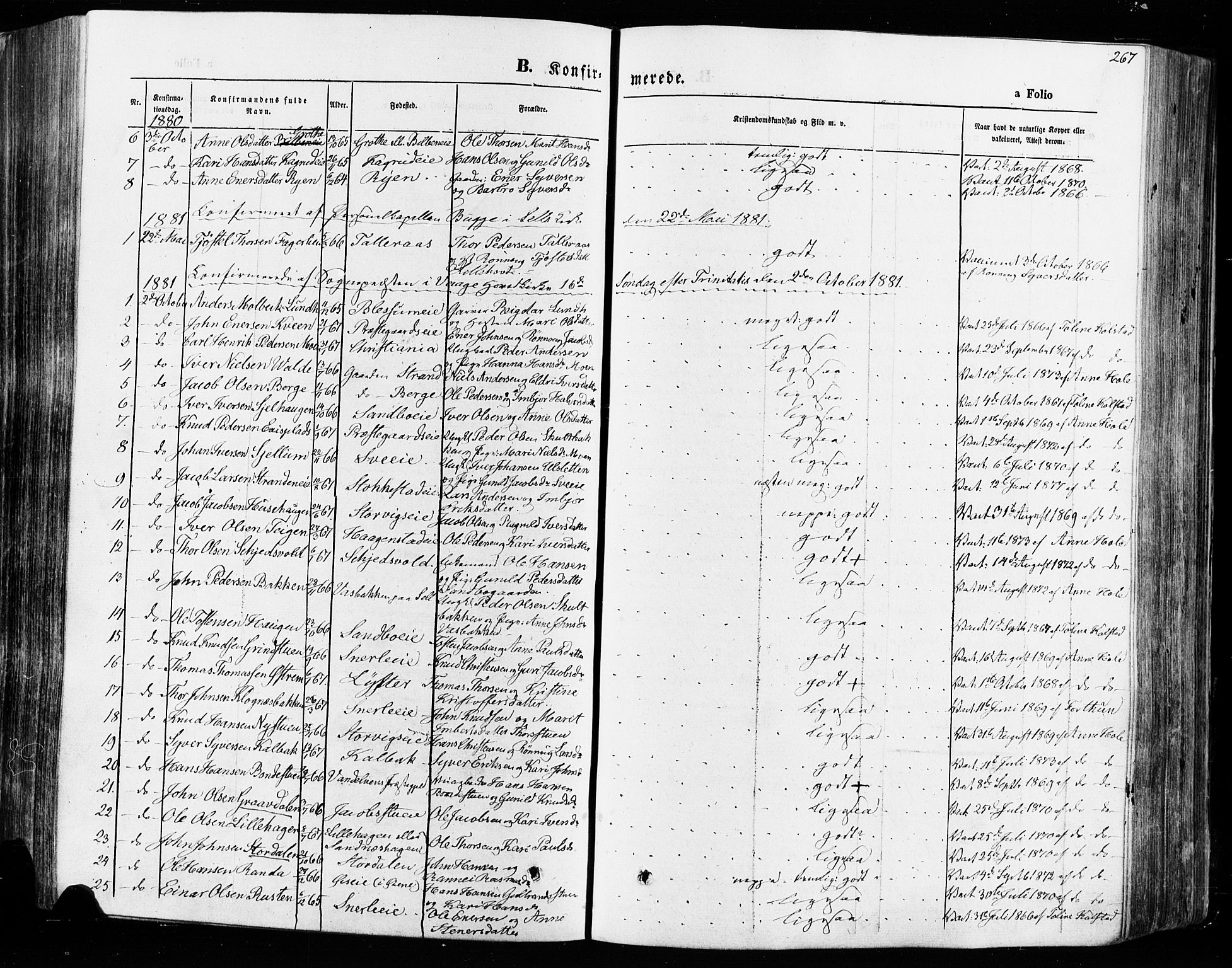 SAH, Vågå prestekontor, Ministerialbok nr. 7 /1, 1872-1886, s. 267