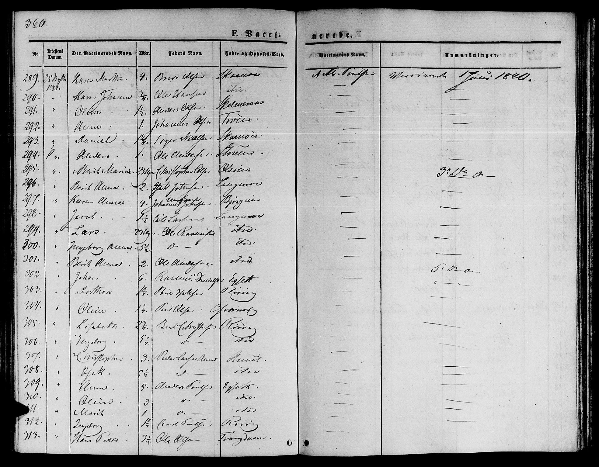SAT, Ministerialprotokoller, klokkerbøker og fødselsregistre - Sør-Trøndelag, 646/L0610: Ministerialbok nr. 646A08, 1837-1847, s. 360