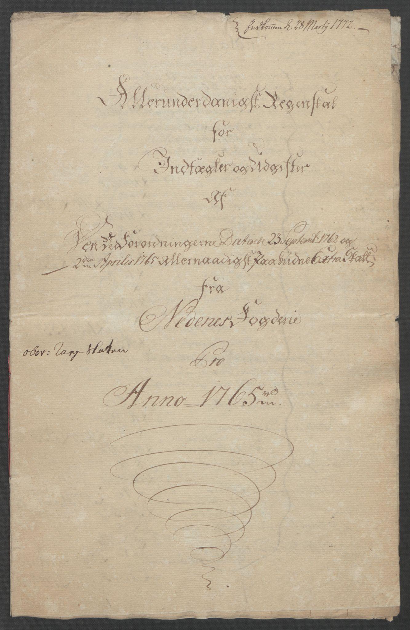 RA, Rentekammeret inntil 1814, Reviderte regnskaper, Fogderegnskap, R39/L2424: Ekstraskatten Nedenes, 1762-1767, s. 127