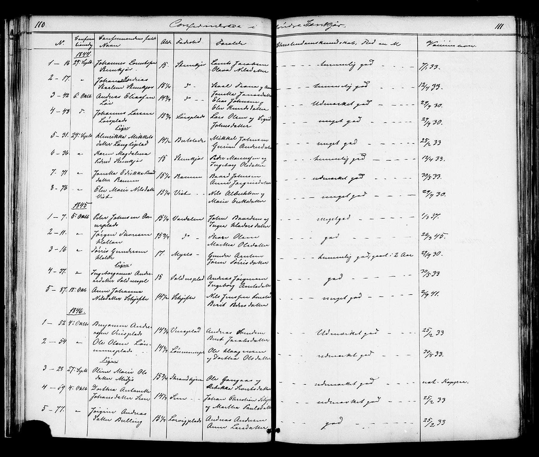 SAT, Ministerialprotokoller, klokkerbøker og fødselsregistre - Nord-Trøndelag, 739/L0367: Ministerialbok nr. 739A01 /1, 1838-1868, s. 110-111