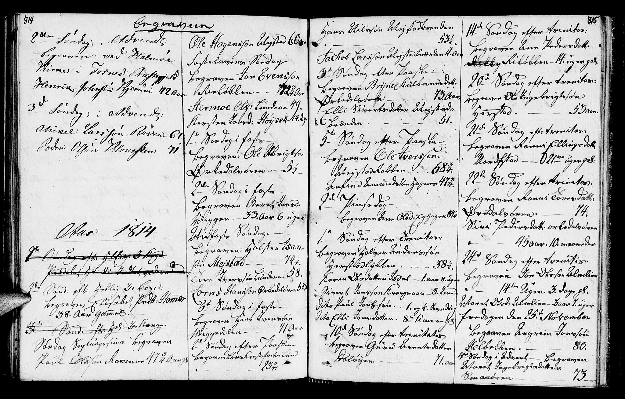 SAT, Ministerialprotokoller, klokkerbøker og fødselsregistre - Sør-Trøndelag, 665/L0769: Ministerialbok nr. 665A04, 1803-1816, s. 314-315
