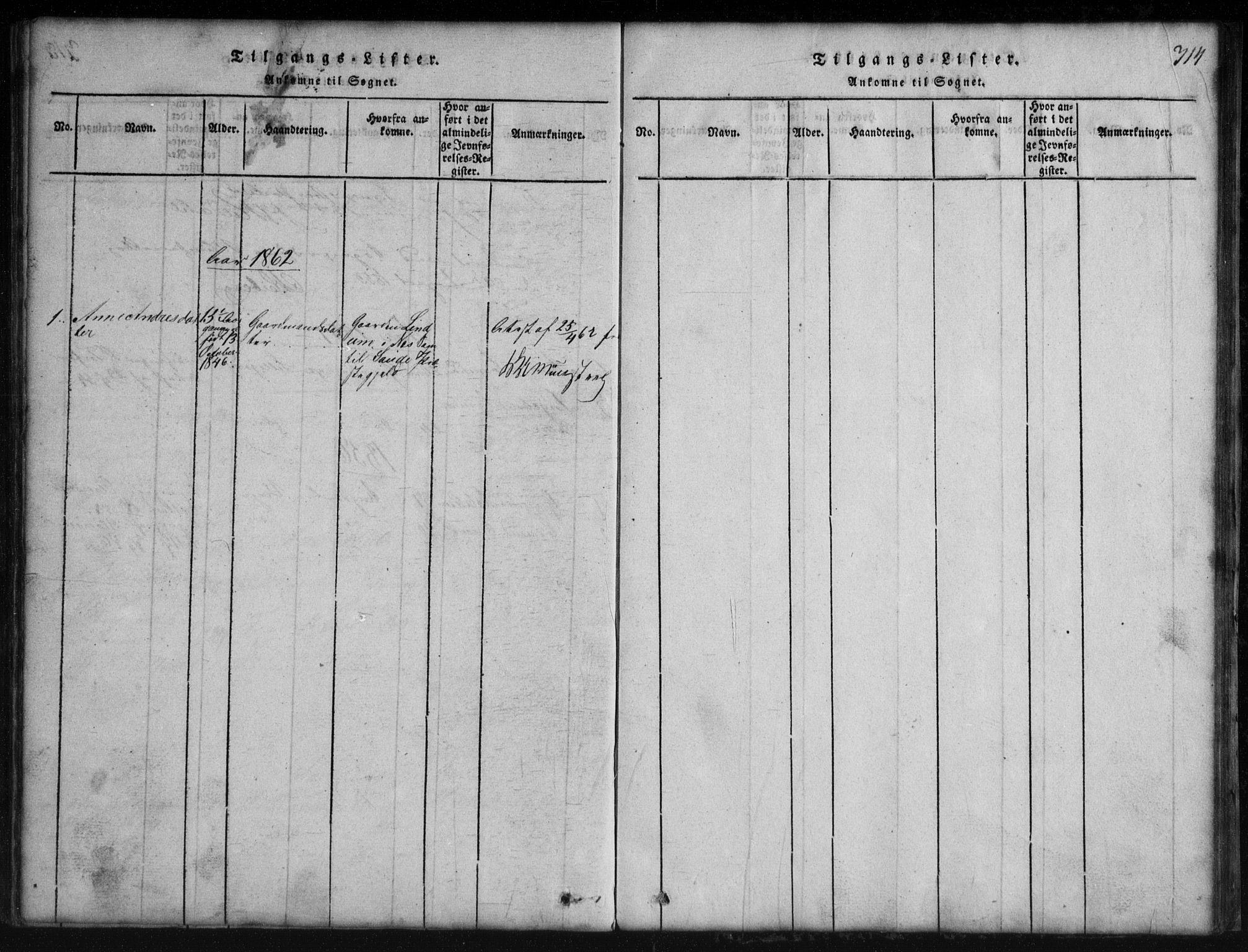 SAKO, Rauland kirkebøker, G/Gb/L0001: Klokkerbok nr. II 1, 1815-1886, s. 314