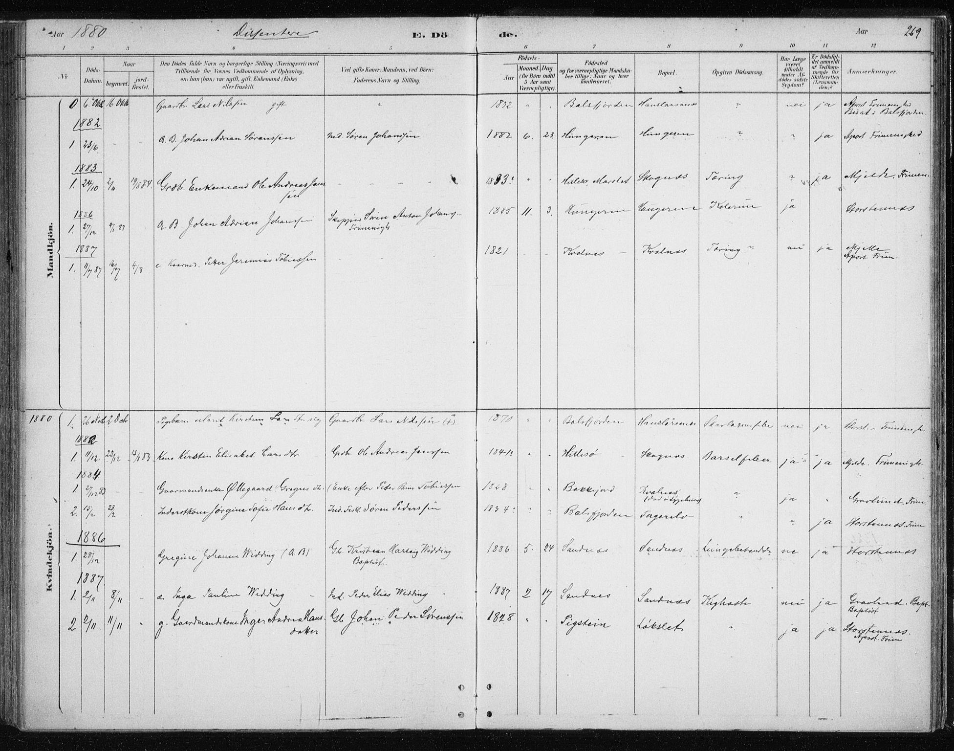 SATØ, Tromsøysund sokneprestkontor, G/Ga/L0004kirke: Ministerialbok nr. 4, 1880-1888, s. 269