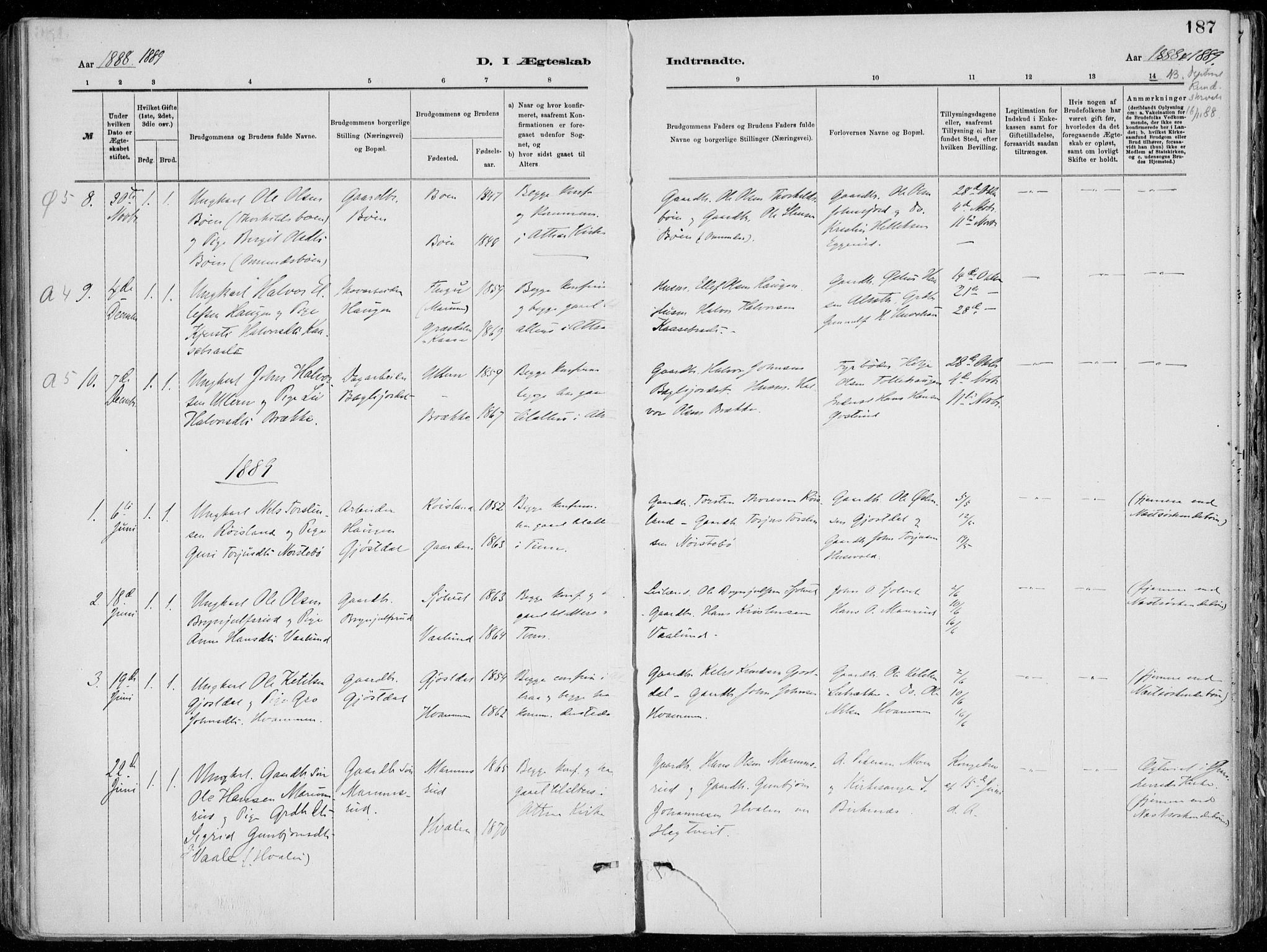 SAKO, Tinn kirkebøker, F/Fa/L0007: Ministerialbok nr. I 7, 1878-1922, s. 187