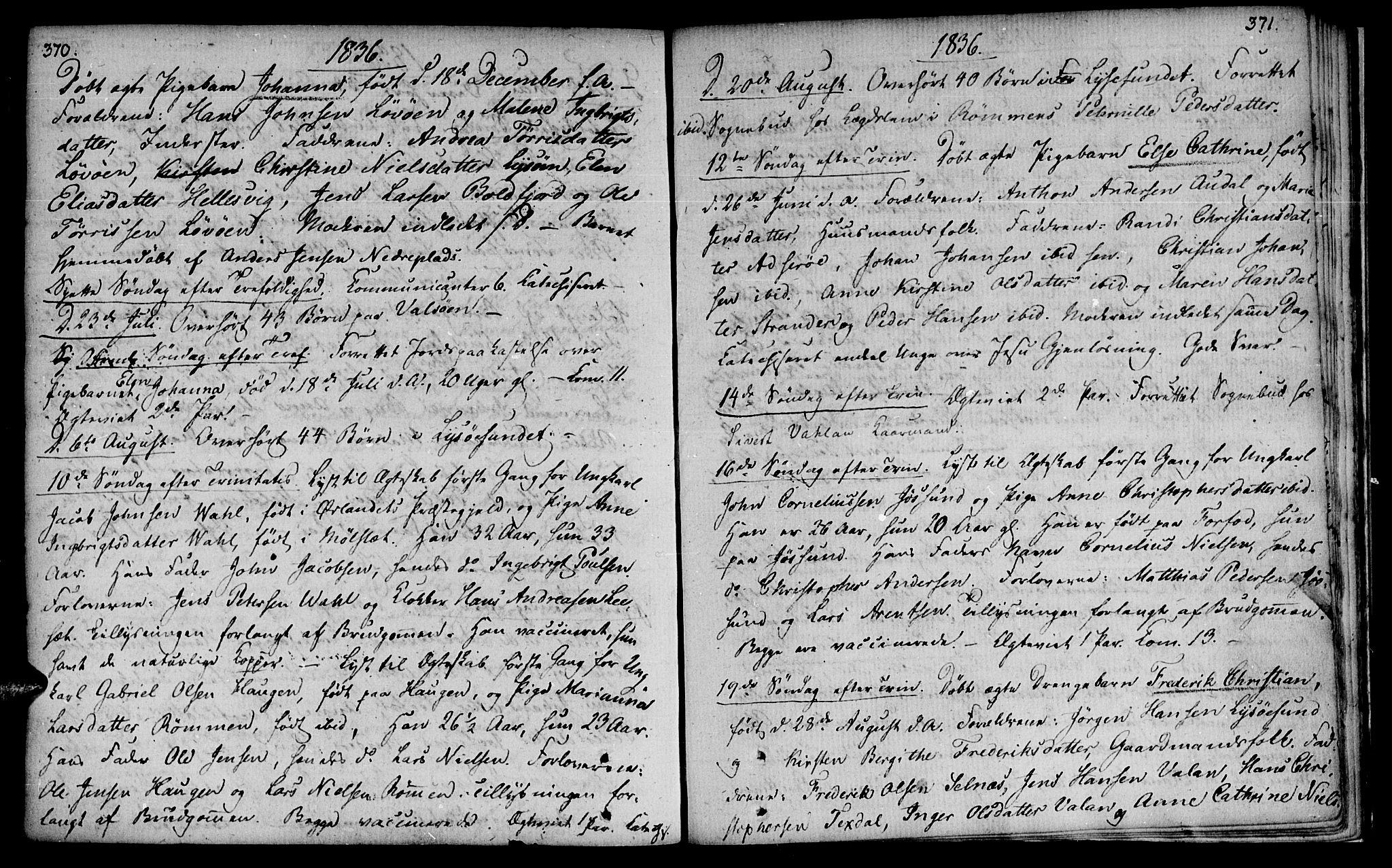 SAT, Ministerialprotokoller, klokkerbøker og fødselsregistre - Sør-Trøndelag, 655/L0674: Ministerialbok nr. 655A03, 1802-1826, s. 370-371