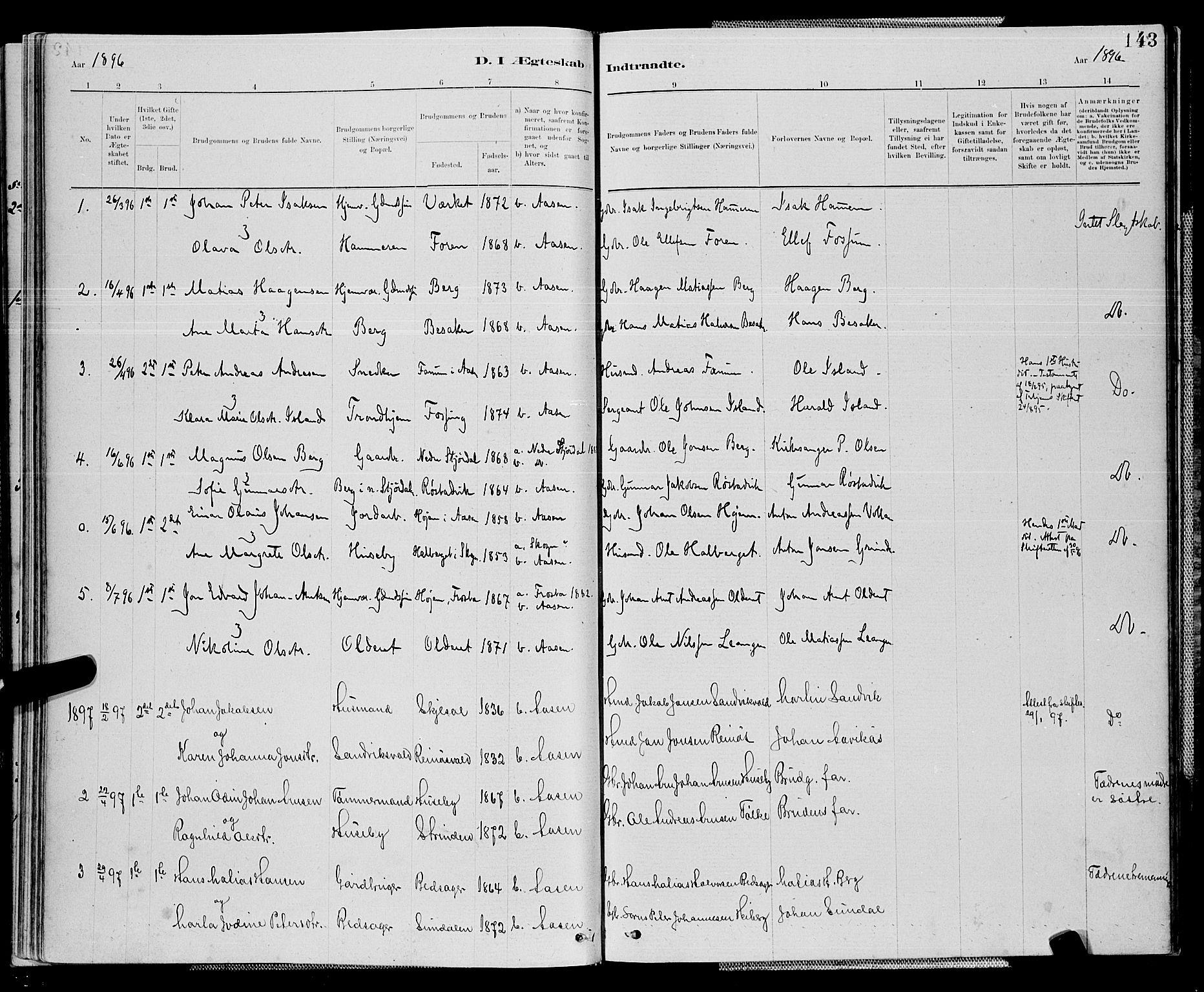 SAT, Ministerialprotokoller, klokkerbøker og fødselsregistre - Nord-Trøndelag, 714/L0134: Klokkerbok nr. 714C03, 1878-1898, s. 143