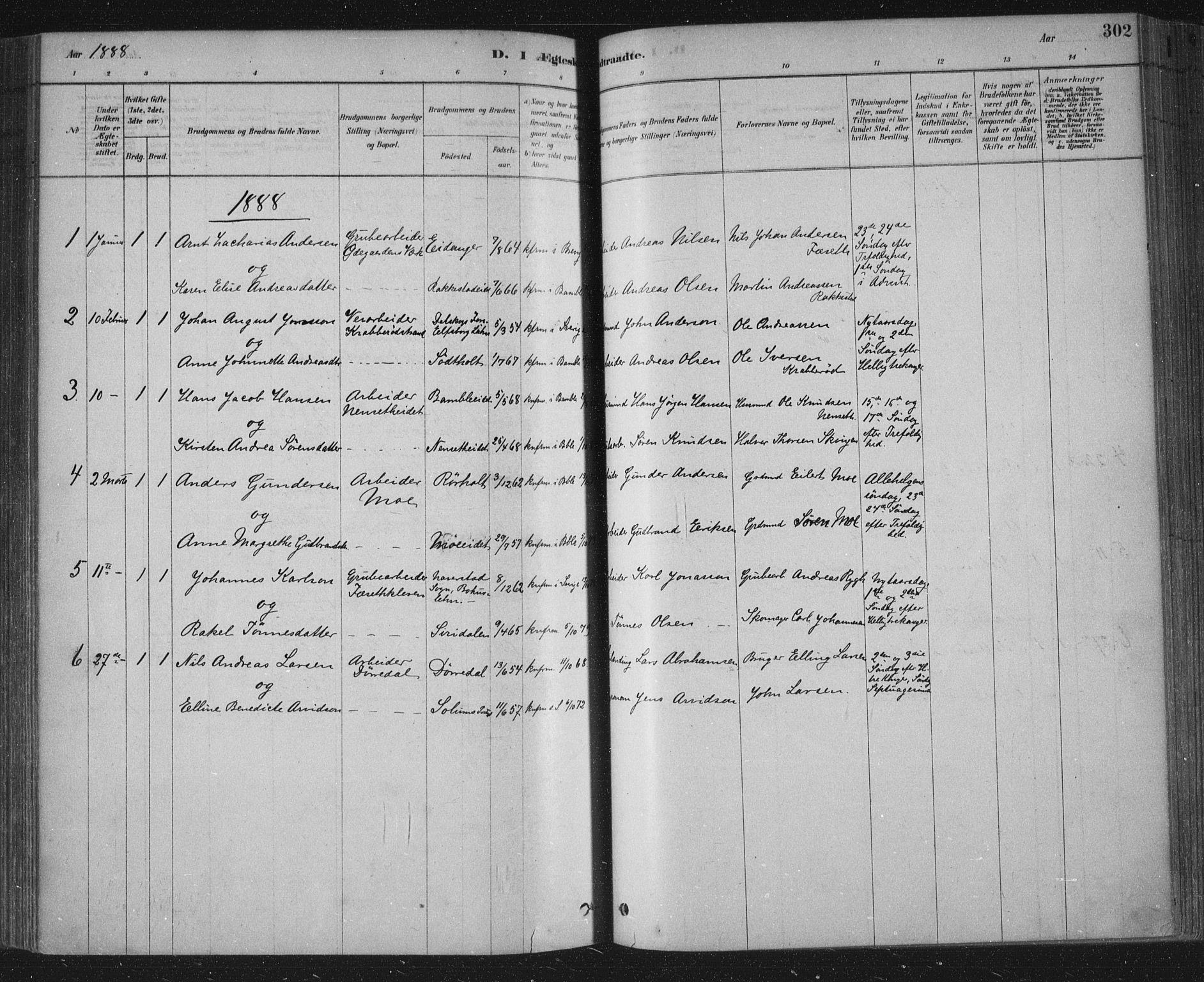 SAKO, Bamble kirkebøker, F/Fa/L0007: Ministerialbok nr. I 7, 1878-1888, s. 302