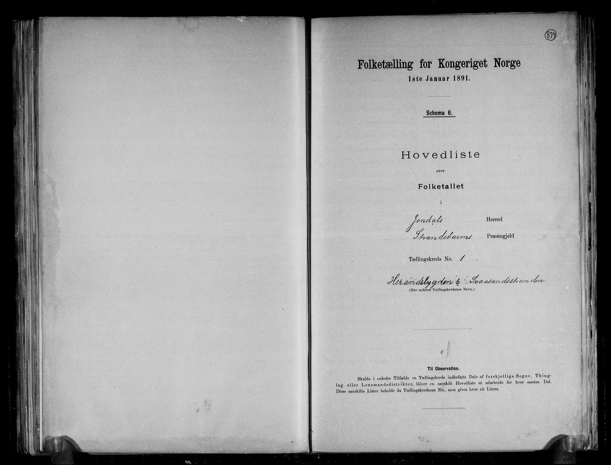 RA, Folketelling 1891 for 1227 Jondal herred, 1891, s. 4