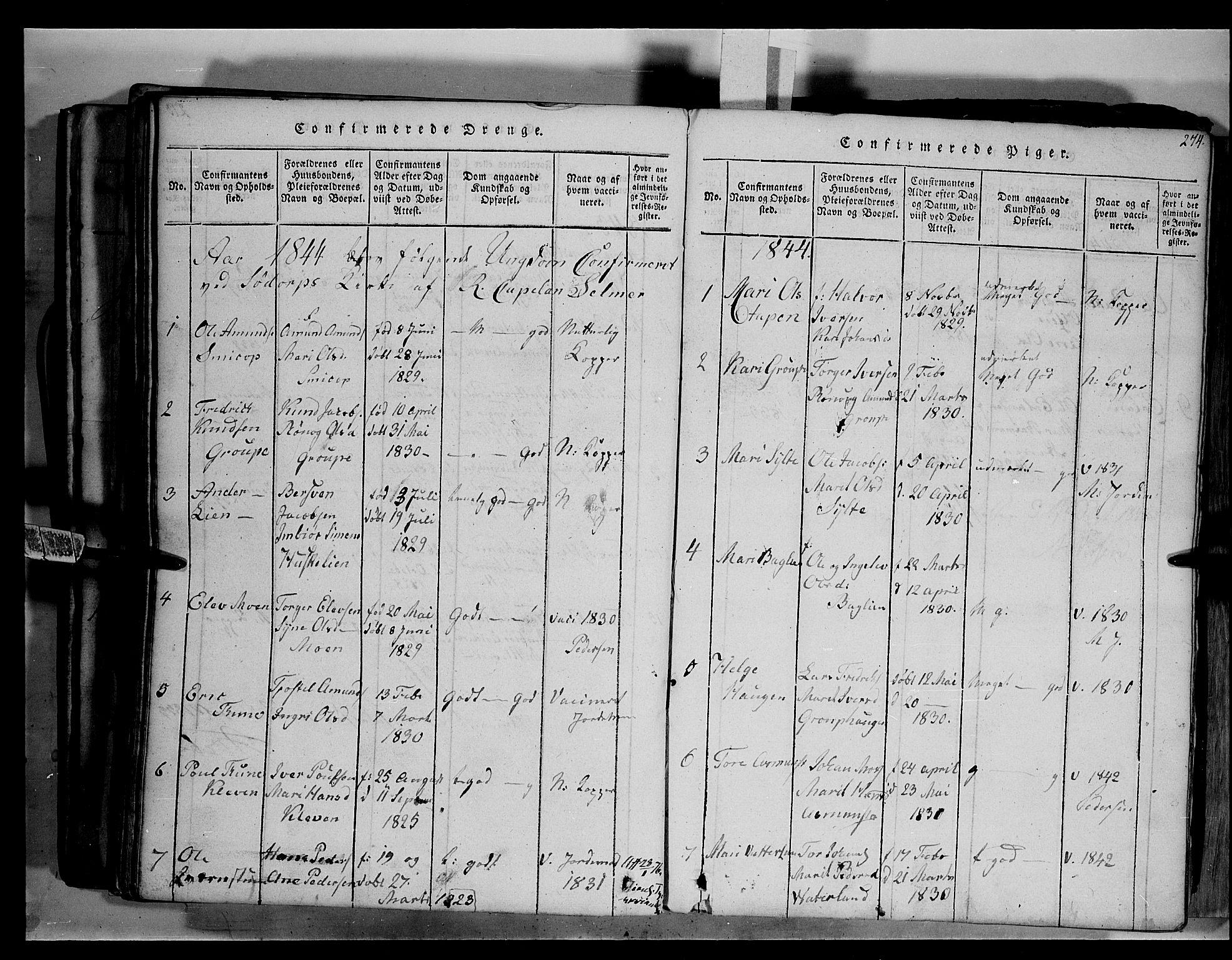 SAH, Fron prestekontor, H/Ha/Hab/L0003: Klokkerbok nr. 3, 1816-1850, s. 274