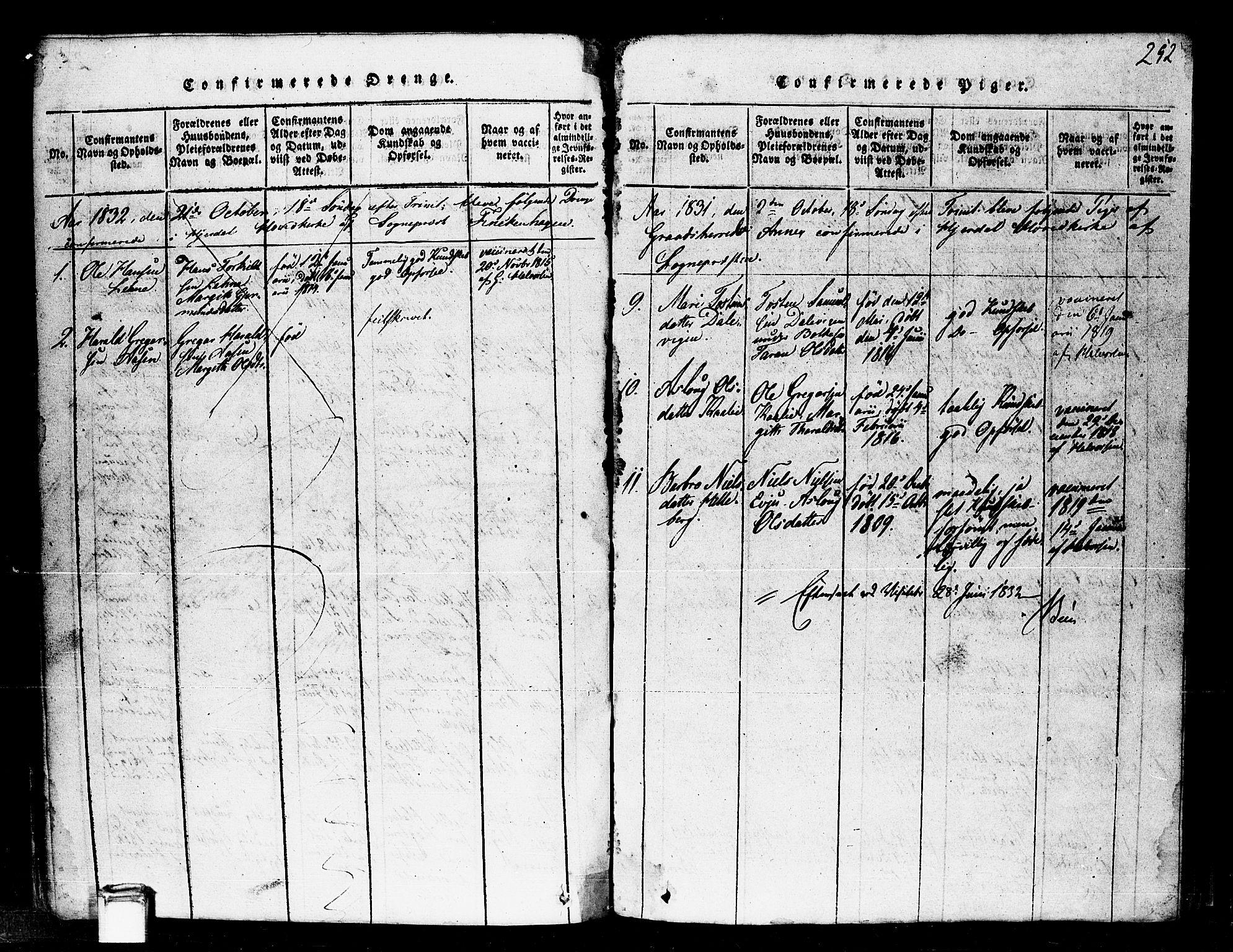 SAKO, Gransherad kirkebøker, F/Fa/L0001: Ministerialbok nr. I 1, 1815-1843, s. 252