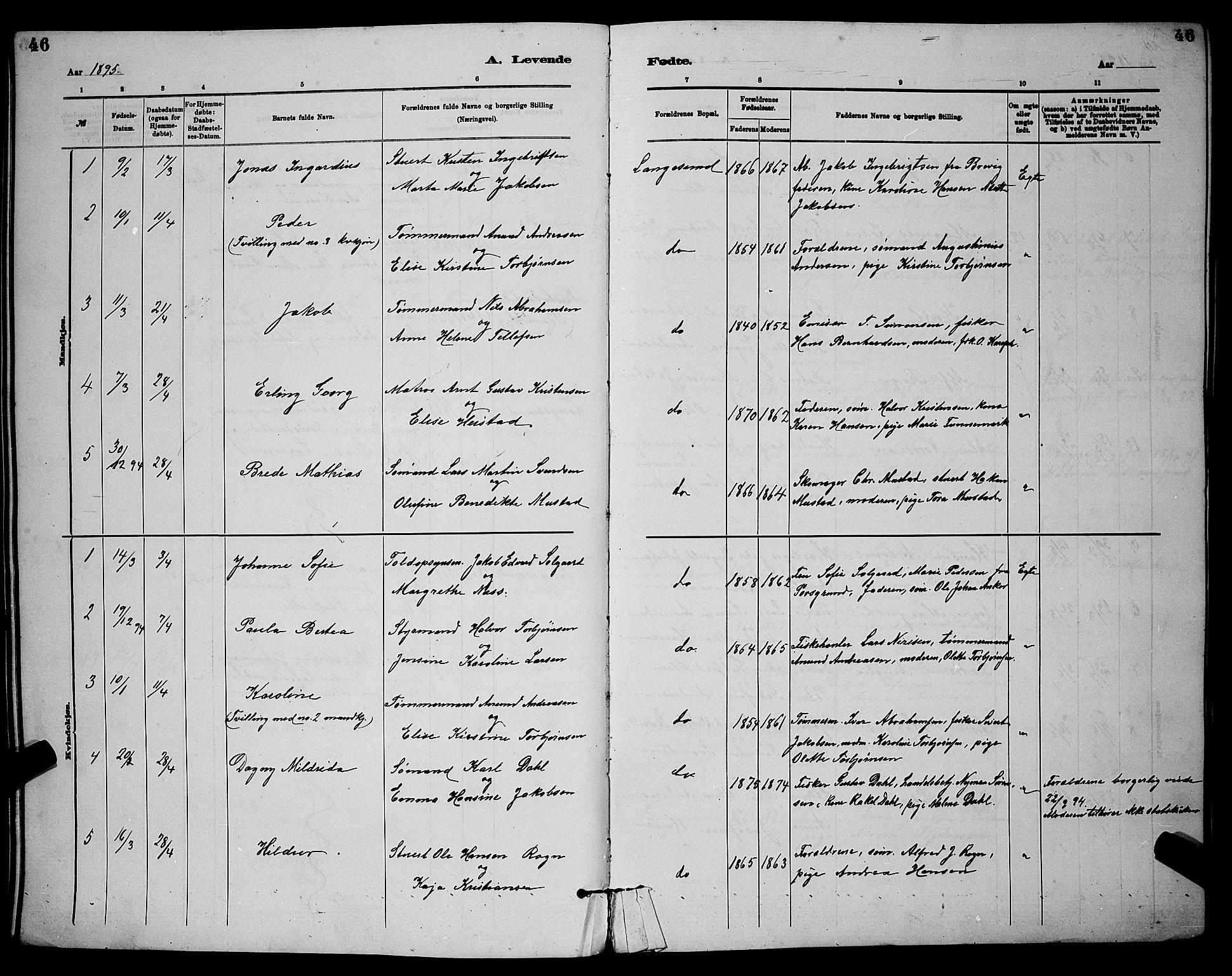 SAKO, Langesund kirkebøker, G/Ga/L0005: Klokkerbok nr. 5, 1884-1898, s. 46