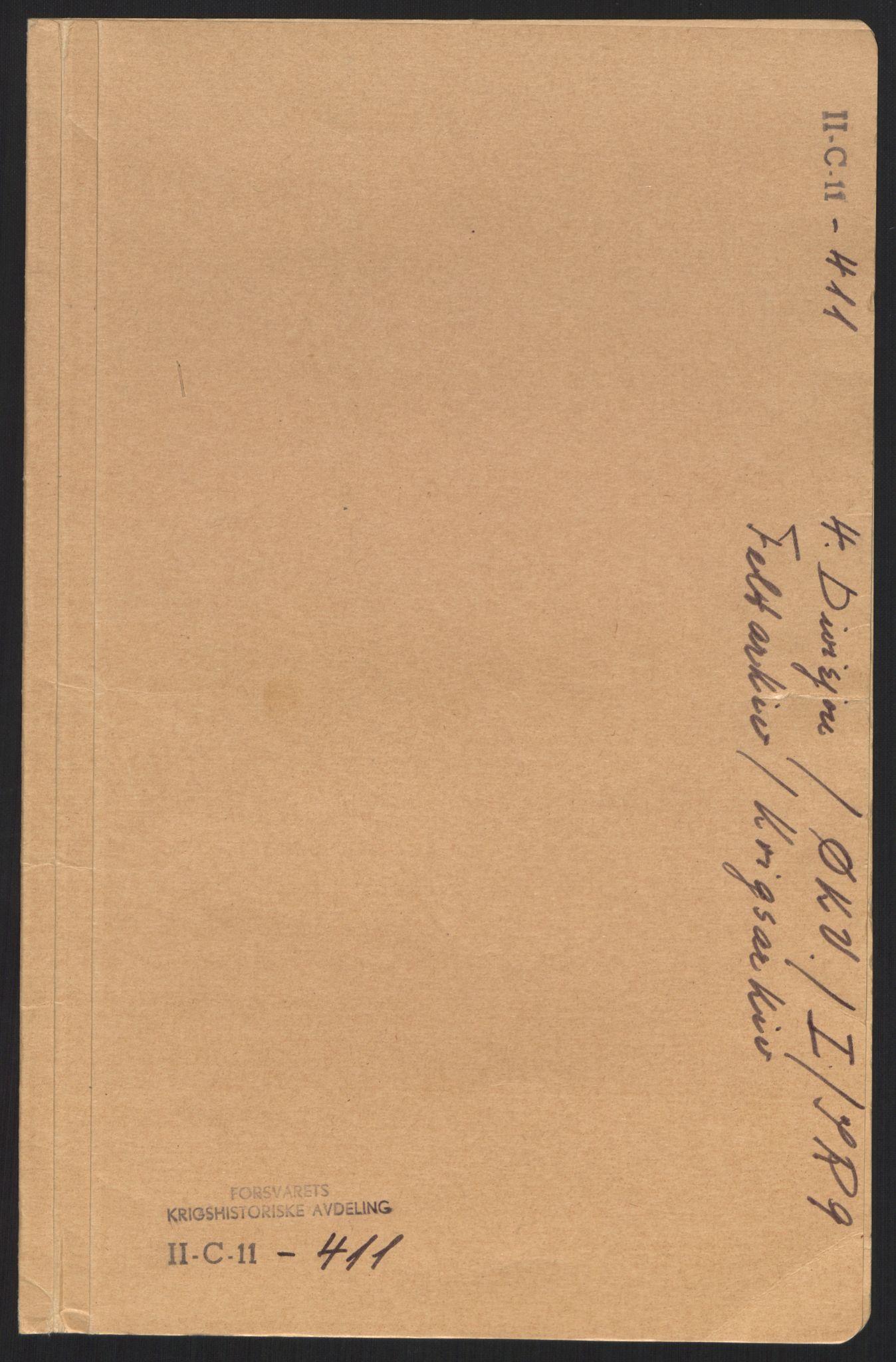 RA, Forsvaret, Forsvarets krigshistoriske avdeling, Y/Yb/L0102: II-C-11-411  -  4. Divisjon., 1940, s. 1