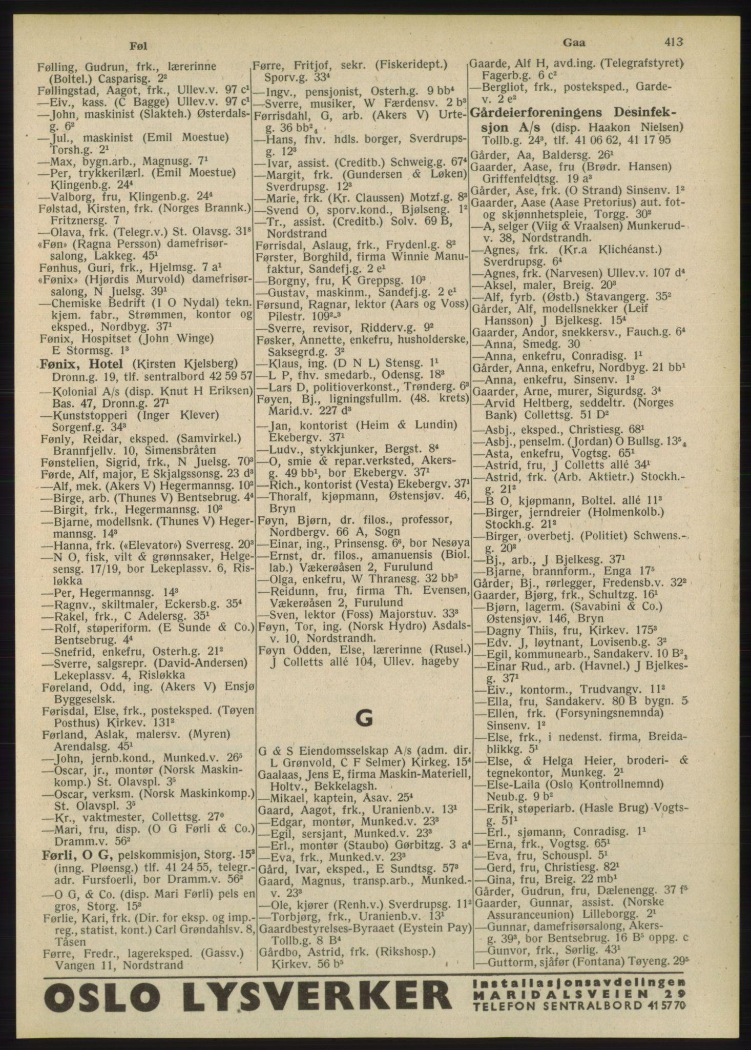 RA, Oslo adressebok (publikasjon)*, 1948, s. 413