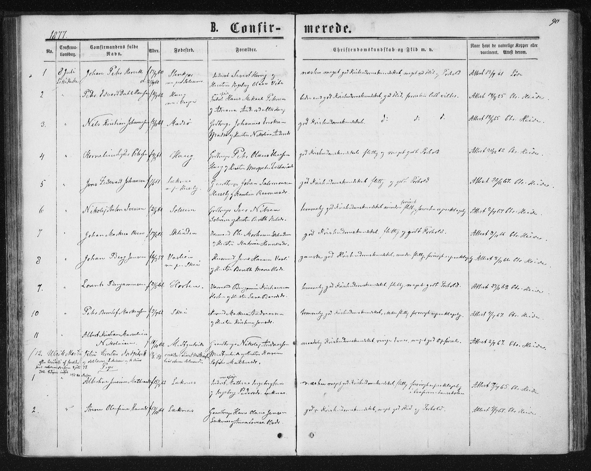 SAT, Ministerialprotokoller, klokkerbøker og fødselsregistre - Nord-Trøndelag, 788/L0696: Ministerialbok nr. 788A03, 1863-1877, s. 90