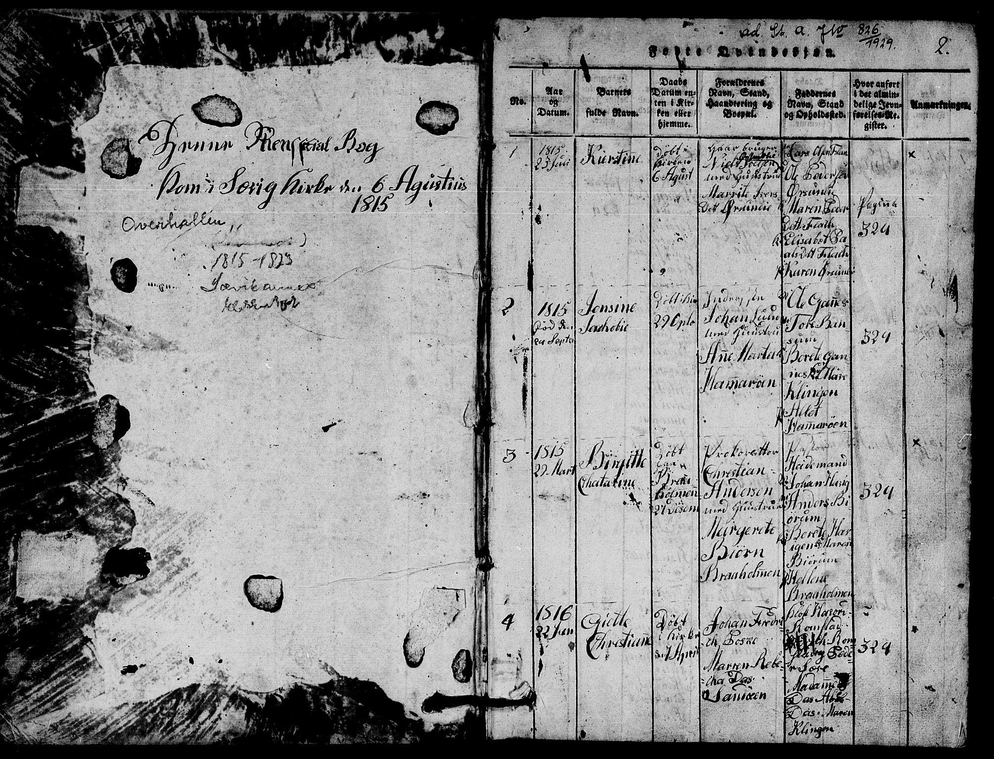 SAT, Ministerialprotokoller, klokkerbøker og fødselsregistre - Nord-Trøndelag, 770/L0590: Klokkerbok nr. 770C01, 1815-1824, s. 2