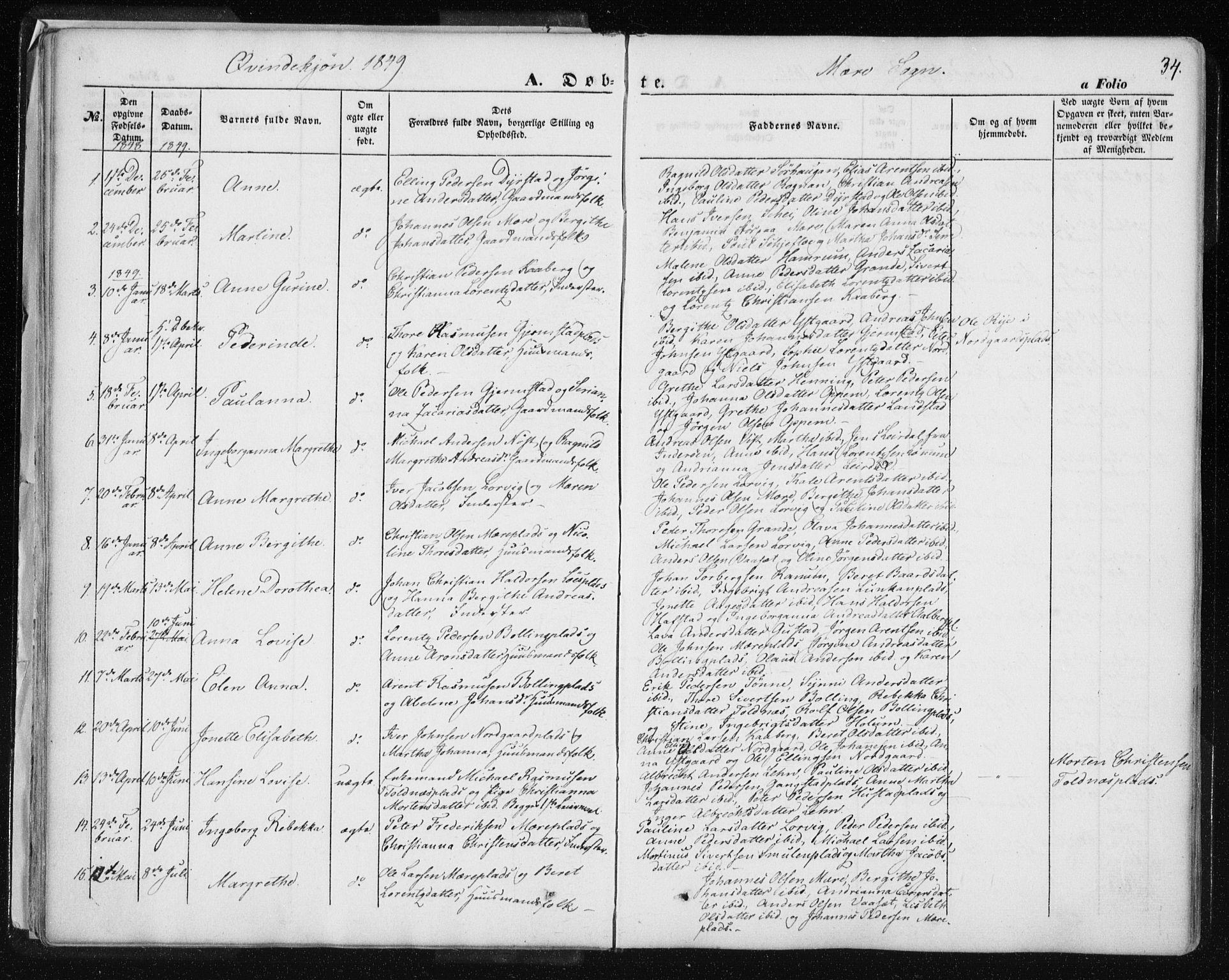 SAT, Ministerialprotokoller, klokkerbøker og fødselsregistre - Nord-Trøndelag, 735/L0342: Ministerialbok nr. 735A07 /1, 1849-1862, s. 34