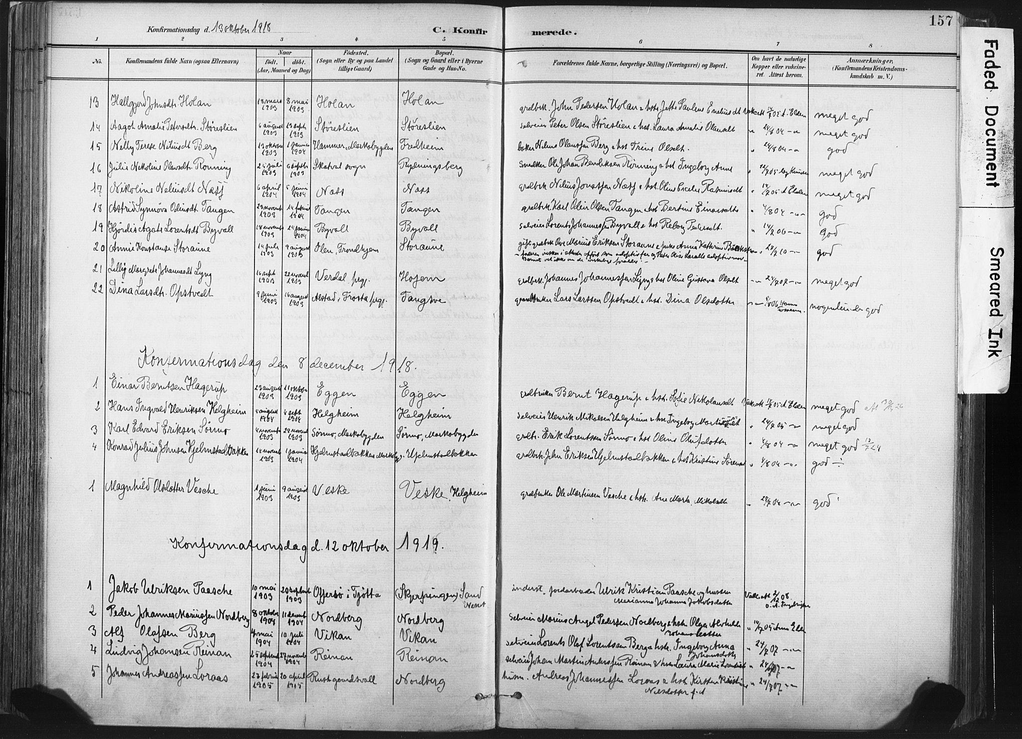 SAT, Ministerialprotokoller, klokkerbøker og fødselsregistre - Nord-Trøndelag, 717/L0162: Ministerialbok nr. 717A12, 1898-1923, s. 157