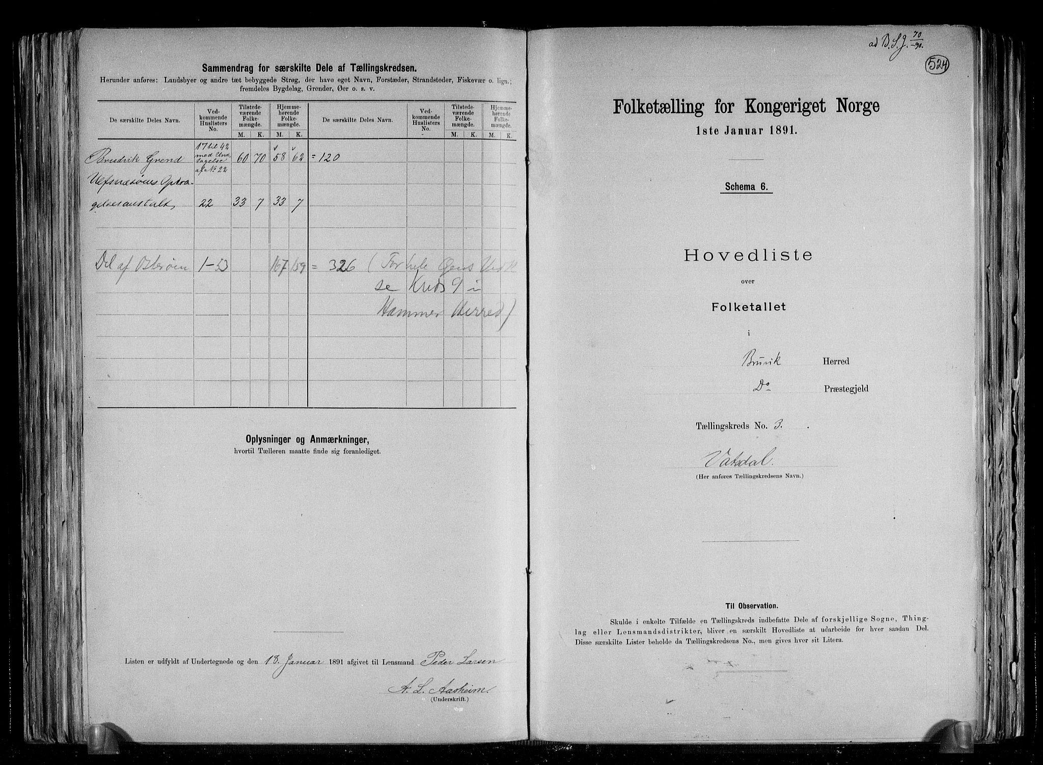 RA, Folketelling 1891 for 1251 Bruvik herred, 1891, s. 9