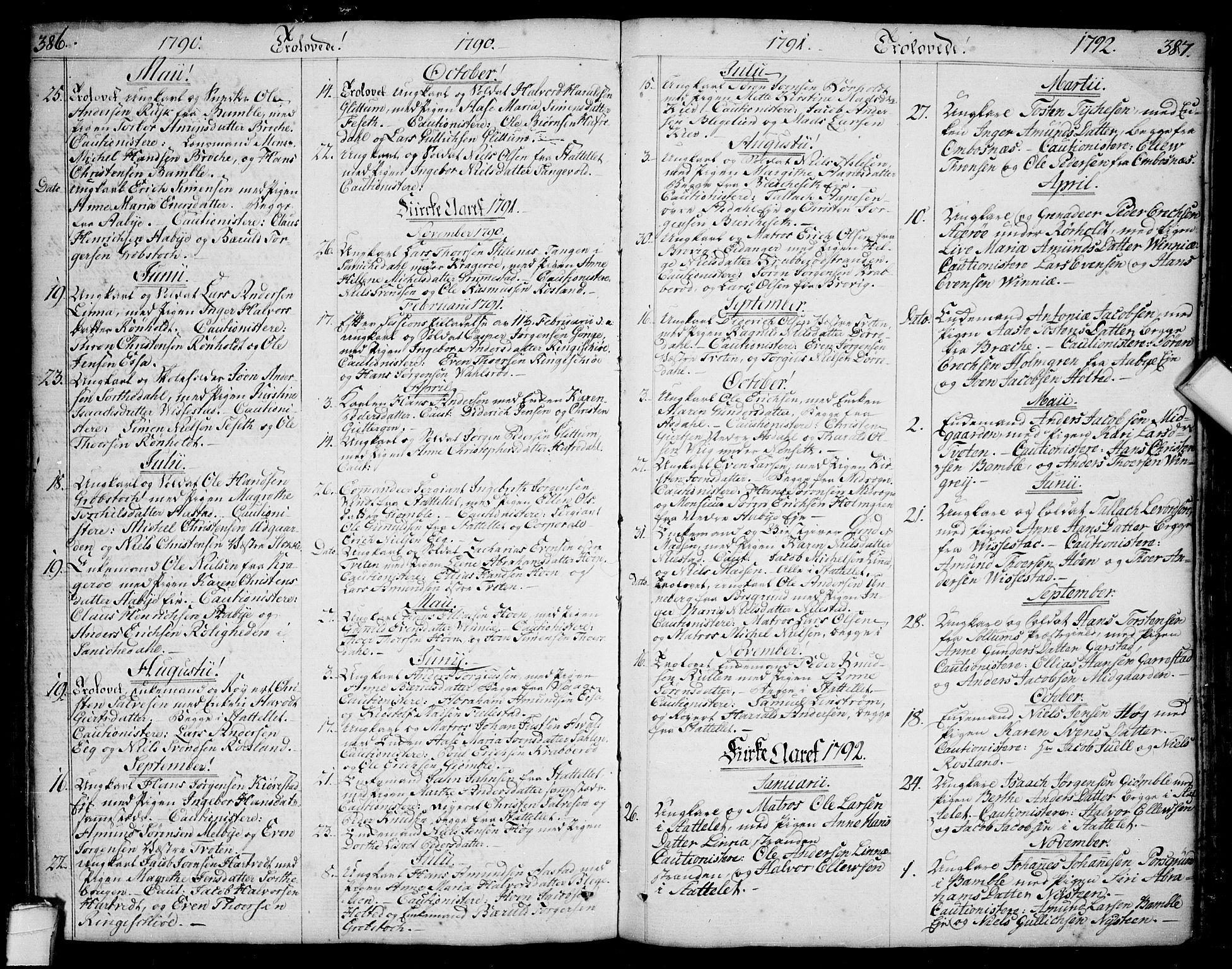 SAKO, Bamble kirkebøker, F/Fa/L0002: Ministerialbok nr. I 2, 1775-1814, s. 386-387
