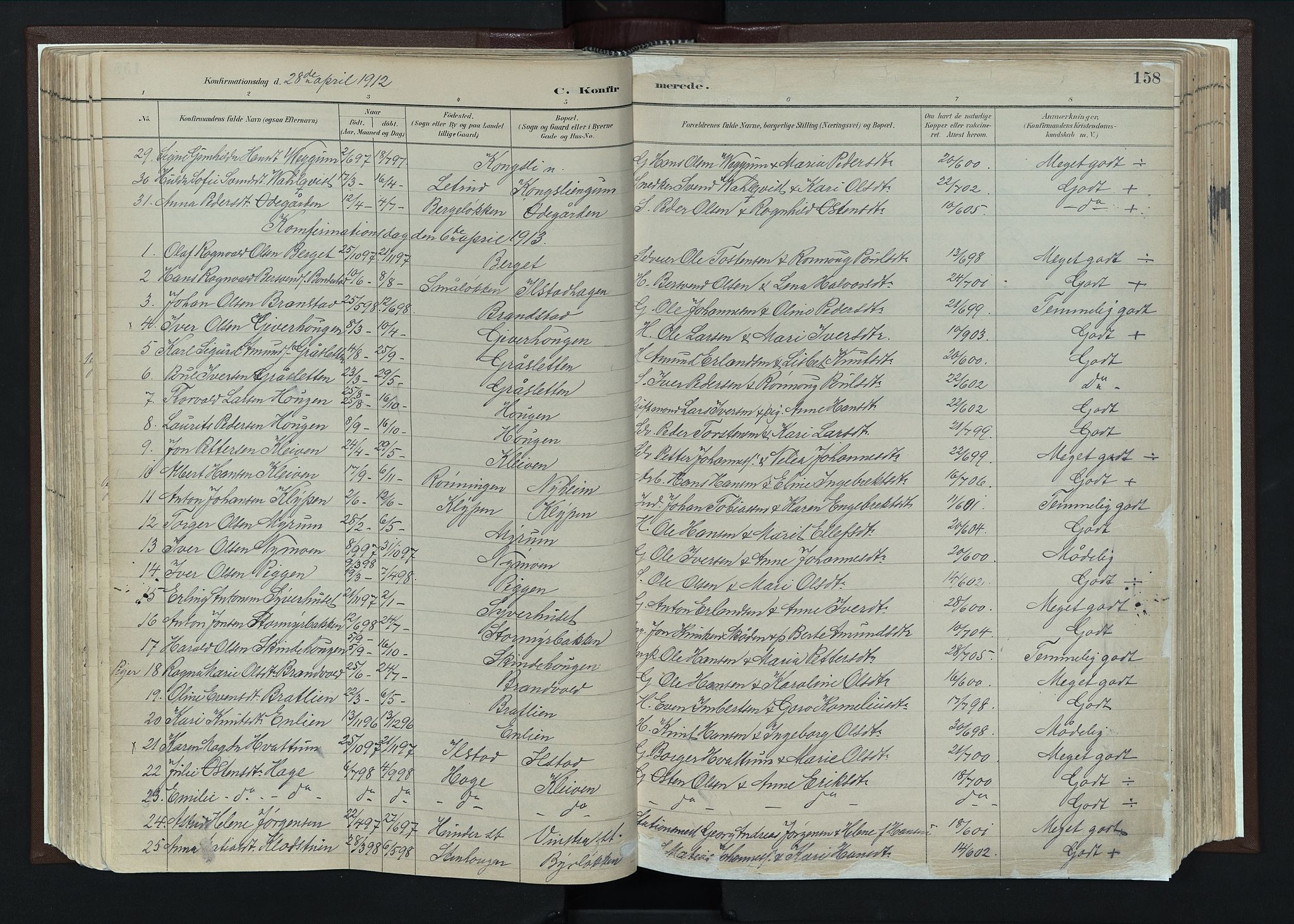 SAH, Nord-Fron prestekontor, Ministerialbok nr. 4, 1884-1914, s. 158