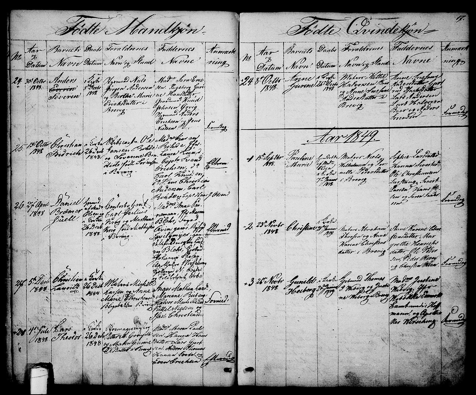 SAKO, Brevik kirkebøker, G/Ga/L0002: Klokkerbok nr. 2, 1846-1865, s. 17