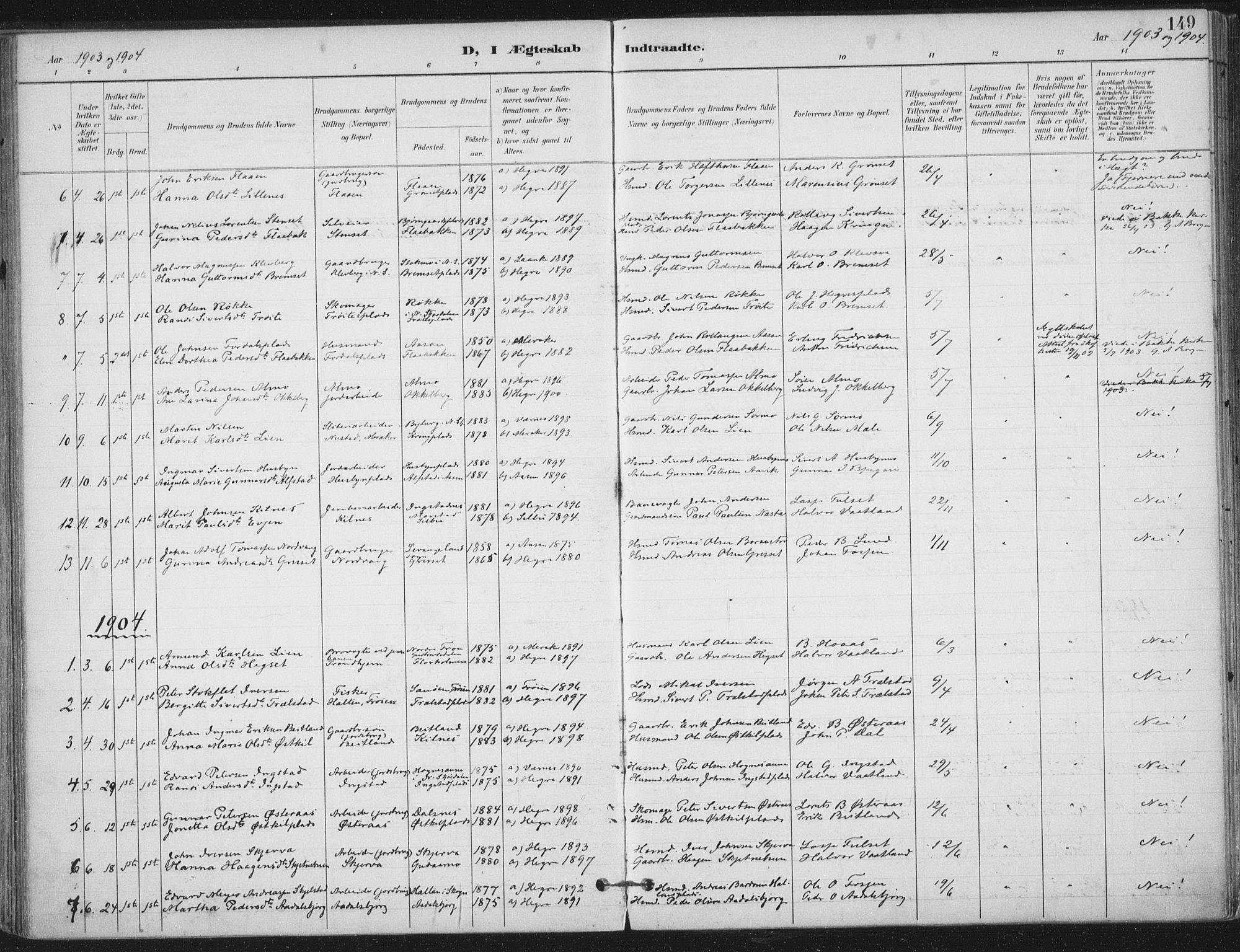 SAT, Ministerialprotokoller, klokkerbøker og fødselsregistre - Nord-Trøndelag, 703/L0031: Ministerialbok nr. 703A04, 1893-1914, s. 149