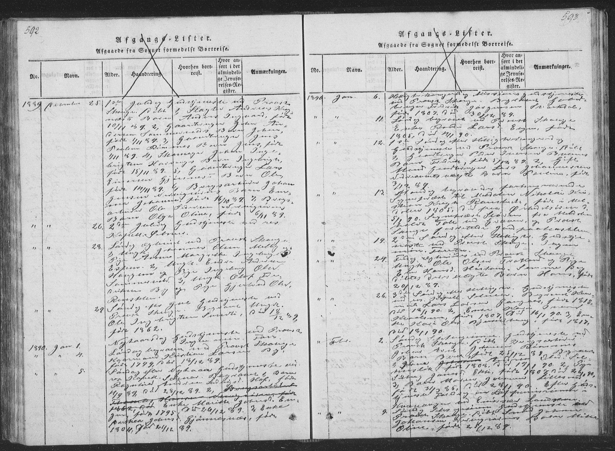 SAT, Ministerialprotokoller, klokkerbøker og fødselsregistre - Sør-Trøndelag, 668/L0816: Klokkerbok nr. 668C05, 1816-1893, s. 592-593