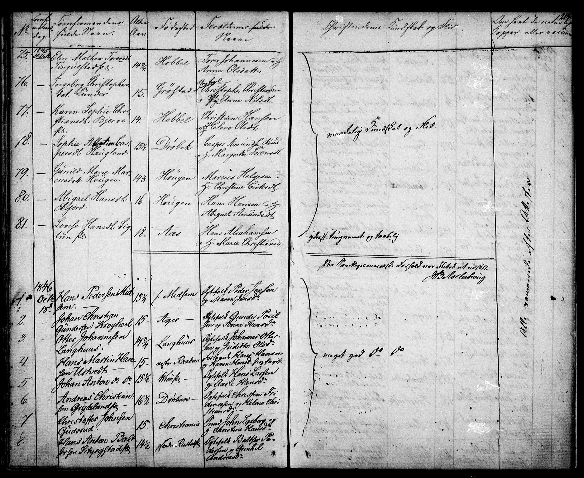 SAO, Kråkstad prestekontor Kirkebøker, F/Fa/L0005: Ministerialbok nr. I 5, 1837-1847, s. 214
