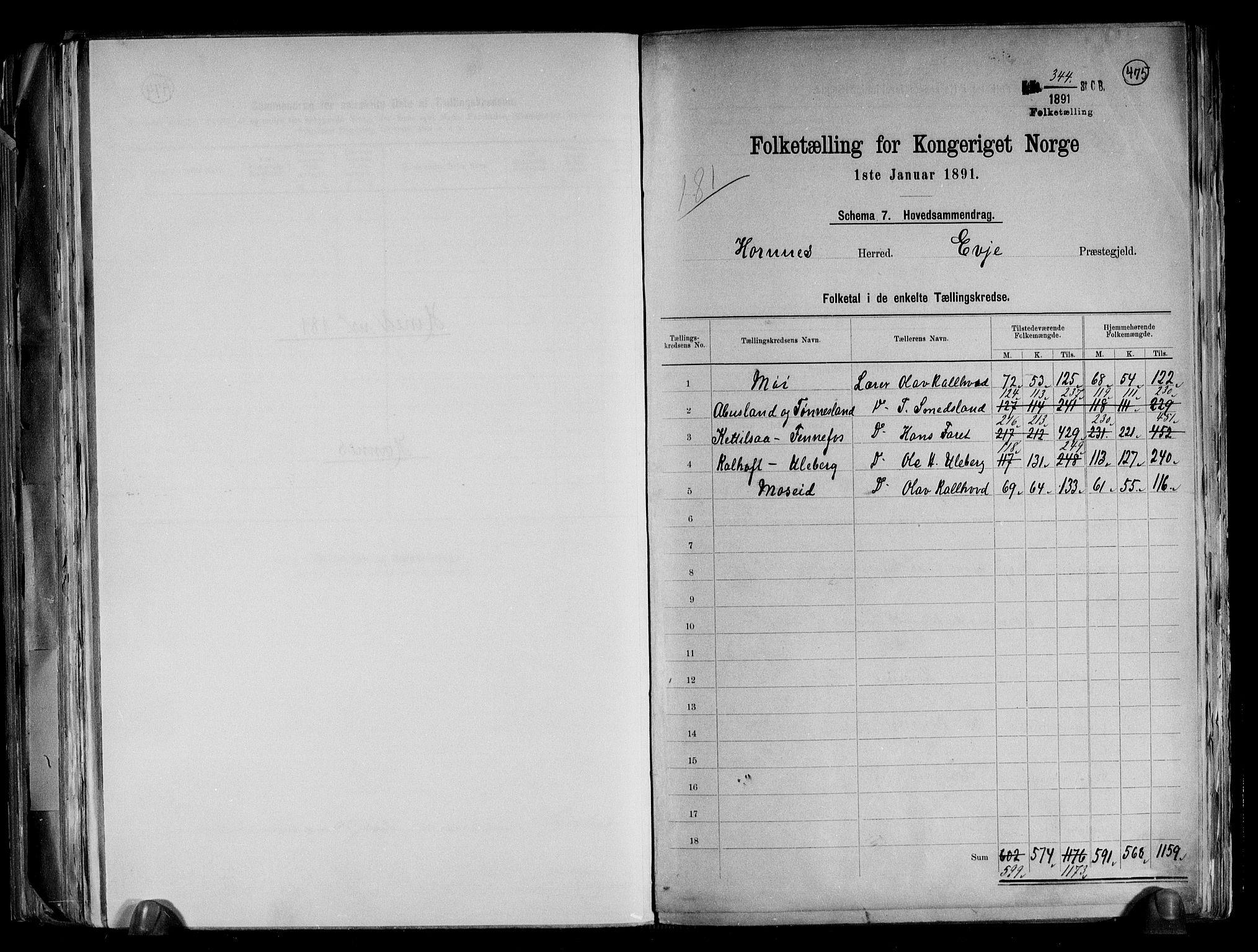 RA, Folketelling 1891 for 0936 Hornnes herred, 1891, s. 2