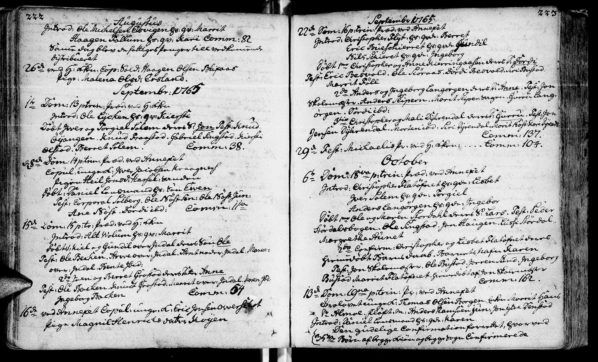 SAT, Ministerialprotokoller, klokkerbøker og fødselsregistre - Sør-Trøndelag, 646/L0605: Ministerialbok nr. 646A03, 1751-1790, s. 222-223