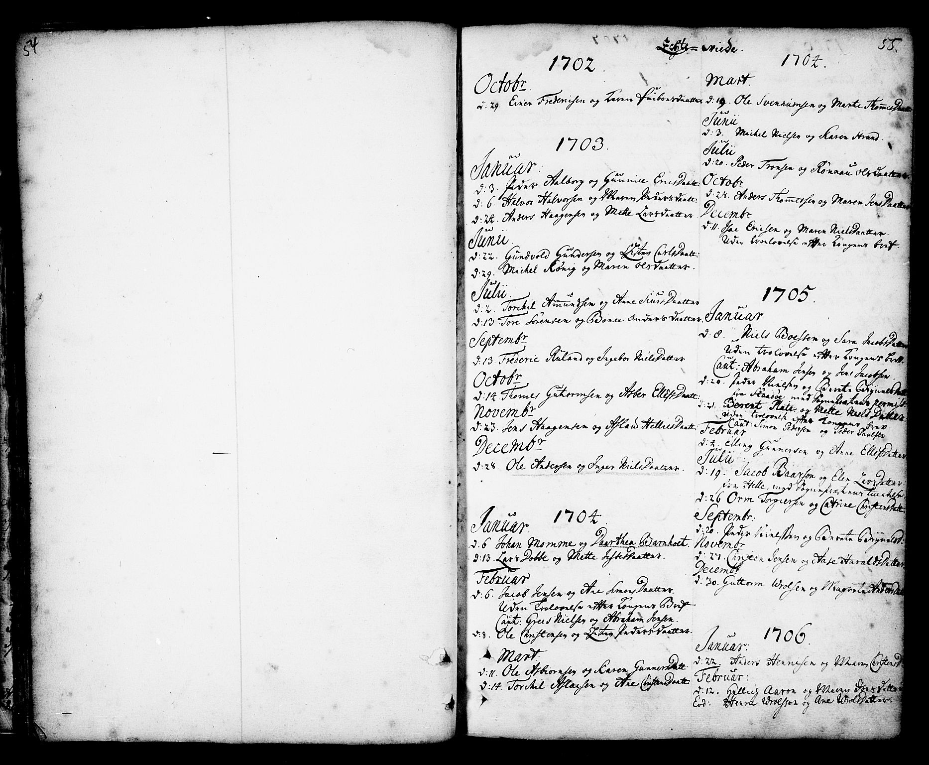 SAKO, Kragerø kirkebøker, F/Fa/L0001: Ministerialbok nr. 1, 1702-1766, s. 54-55