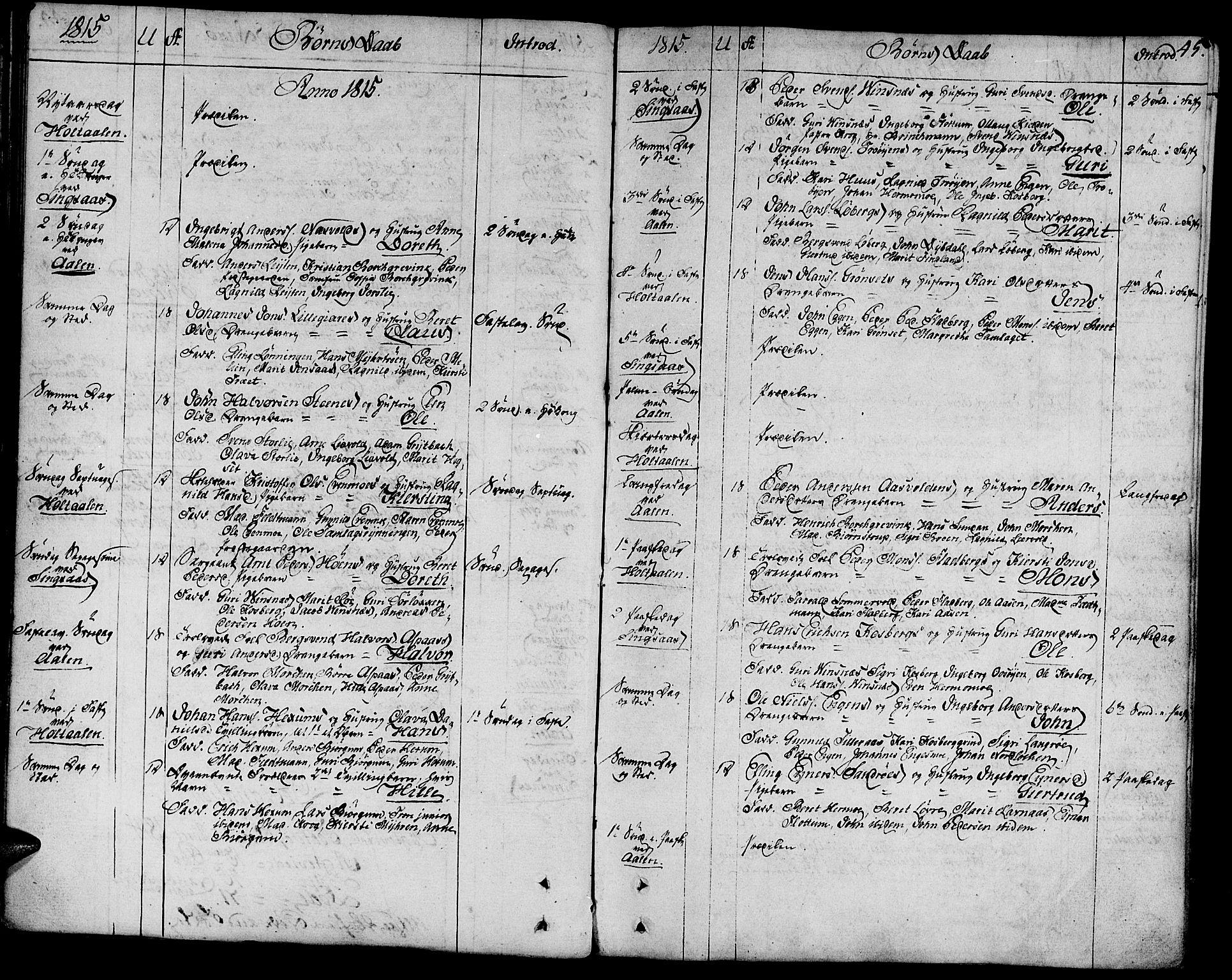 SAT, Ministerialprotokoller, klokkerbøker og fødselsregistre - Sør-Trøndelag, 685/L0953: Ministerialbok nr. 685A02, 1805-1816, s. 45