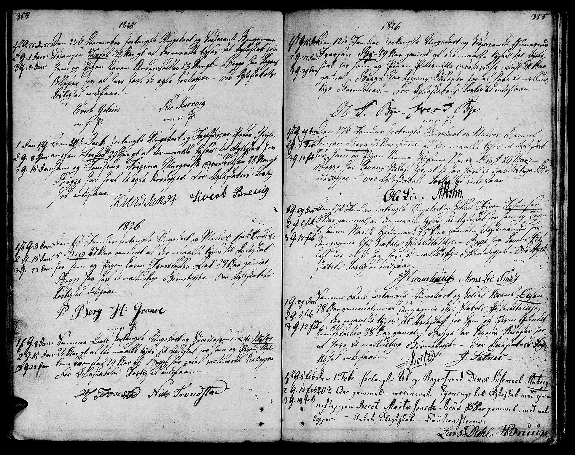 SAT, Ministerialprotokoller, klokkerbøker og fødselsregistre - Sør-Trøndelag, 601/L0042: Ministerialbok nr. 601A10, 1802-1830, s. 354-355