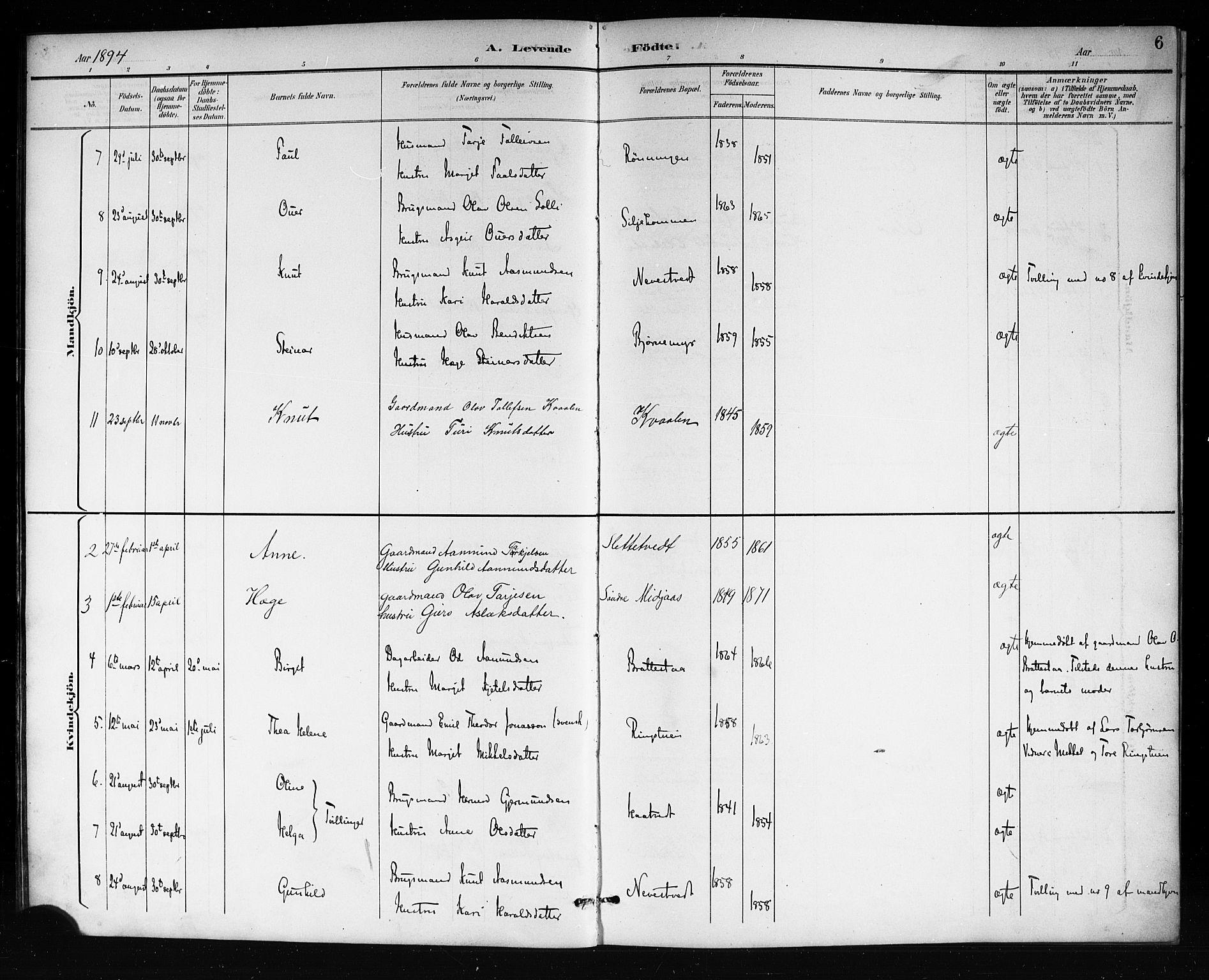 SAKO, Mo kirkebøker, G/Ga/L0002: Klokkerbok nr. I 2, 1892-1914, s. 6