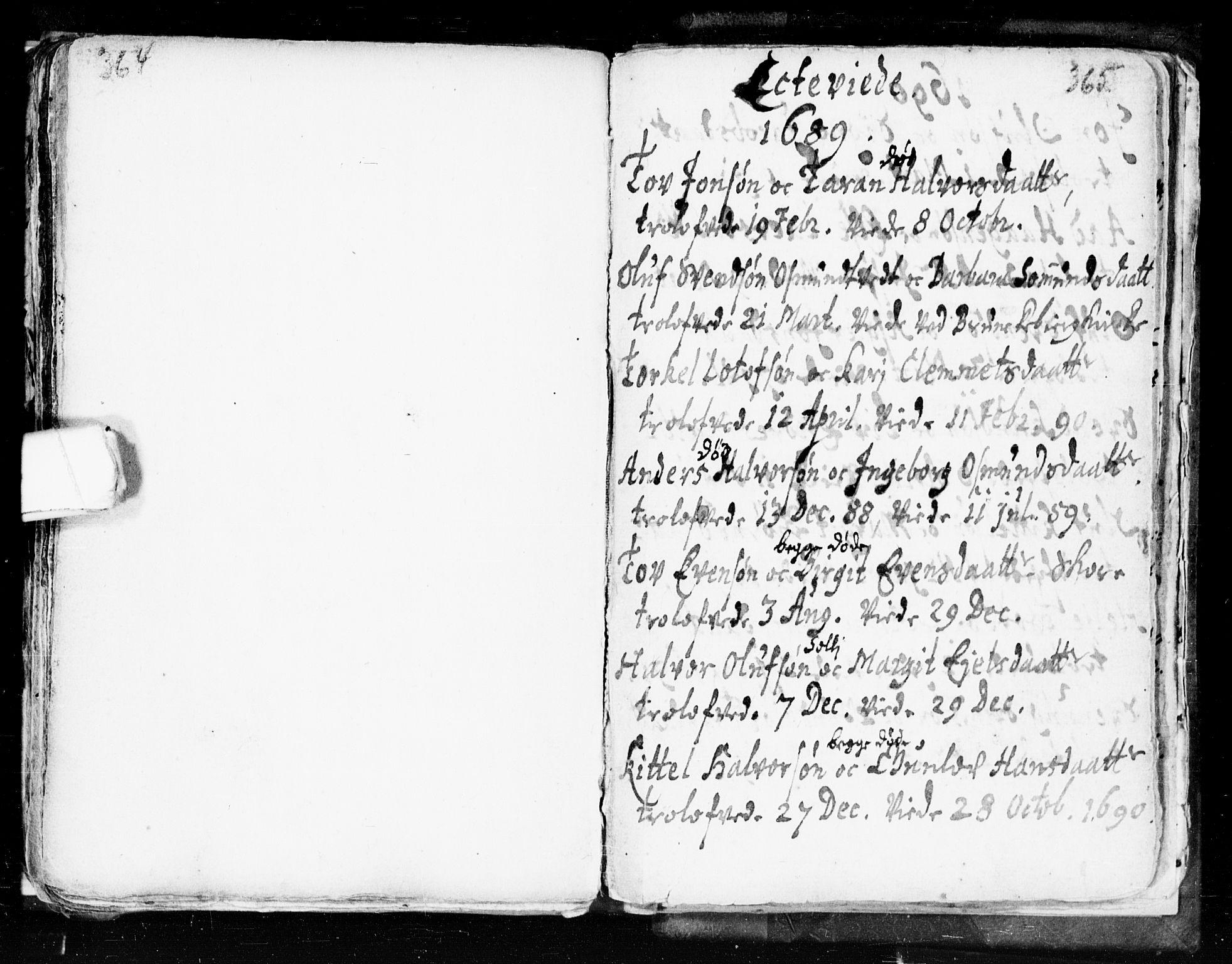 SAKO, Seljord kirkebøker, F/Fa/L0002: Ministerialbok nr. I 2, 1689-1713, s. 364-365