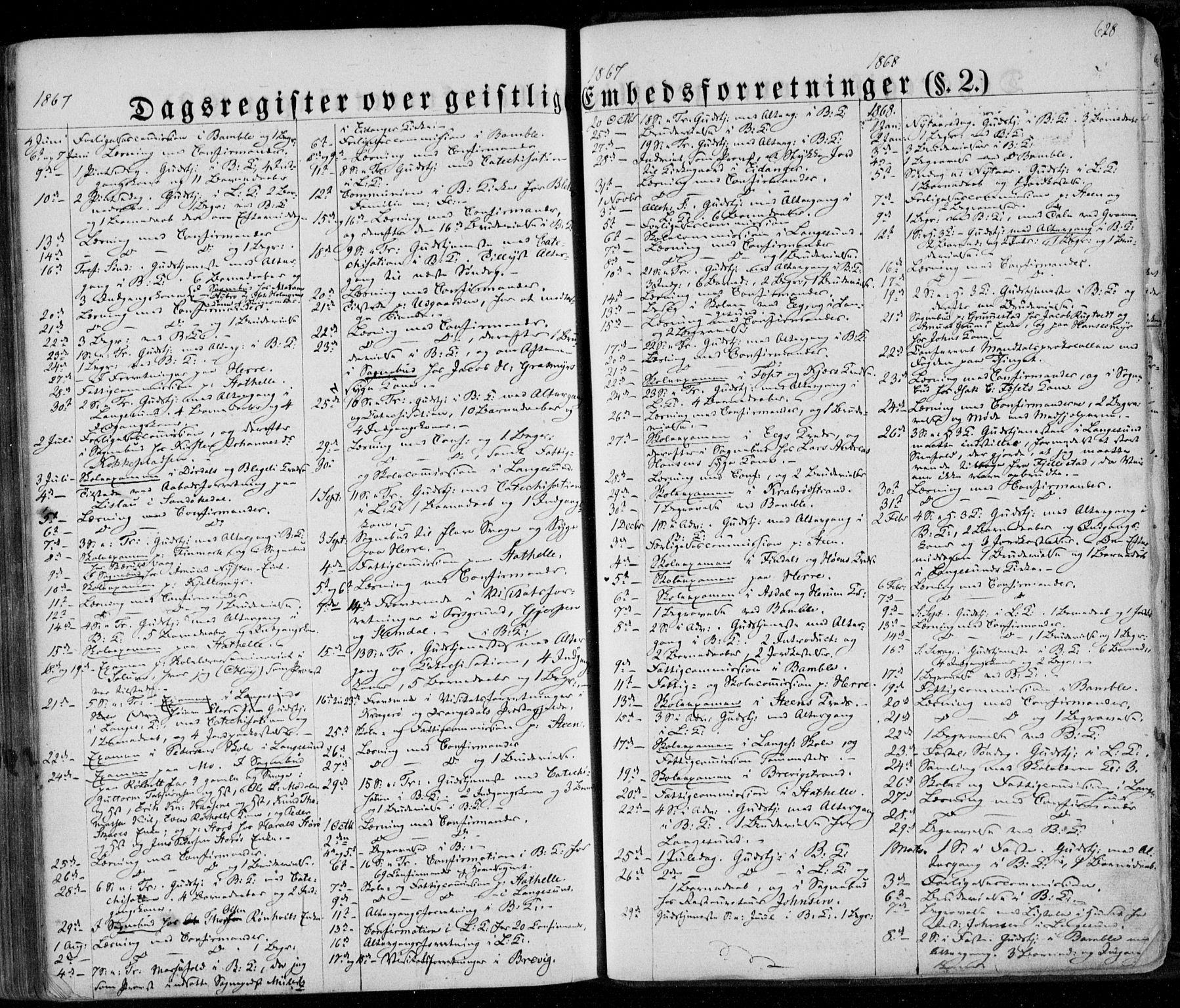 SAKO, Bamble kirkebøker, F/Fa/L0005: Ministerialbok nr. I 5, 1854-1869, s. 628