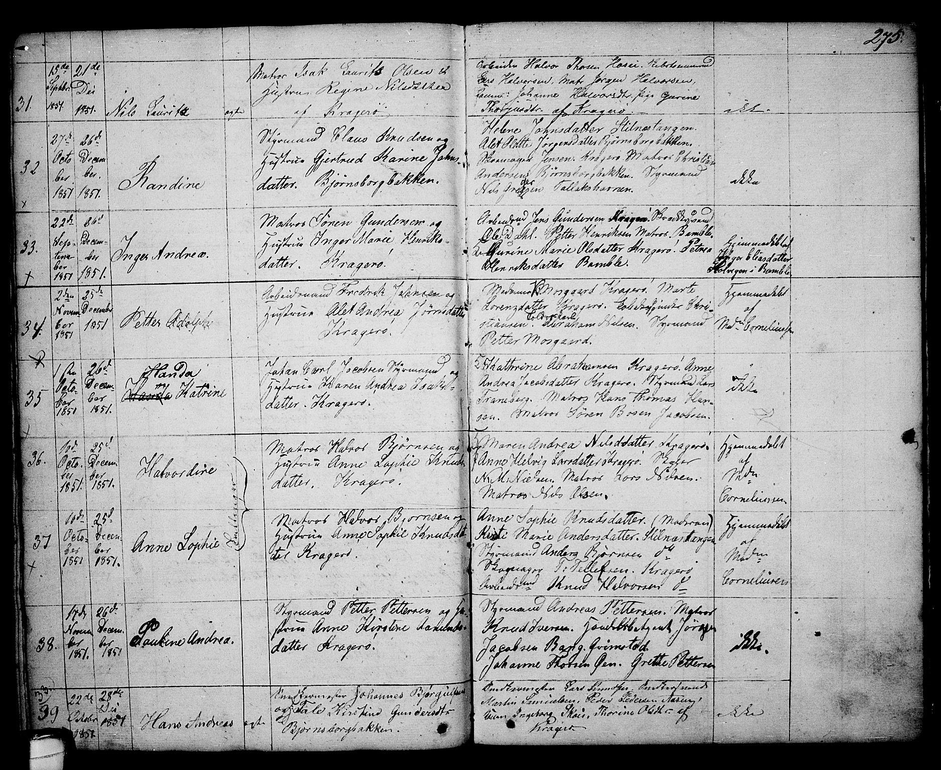 SAKO, Kragerø kirkebøker, G/Ga/L0003: Klokkerbok nr. 3, 1832-1852, s. 275