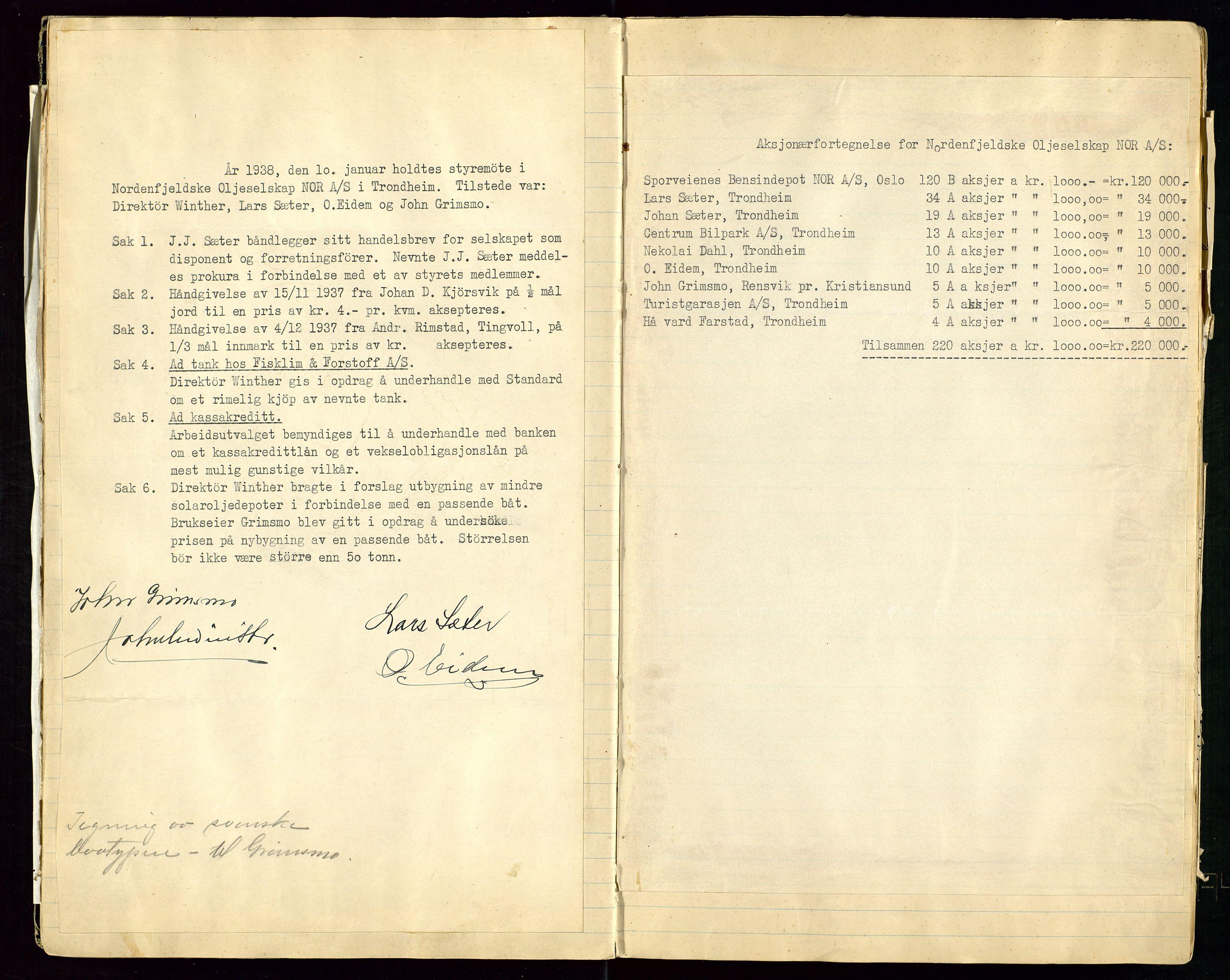 SAST, PA 1519 - Nordenfjeldske Oljeselskap, NOR A/S, A/L0001: Styreprotokoll, 1937-1962, s. 13