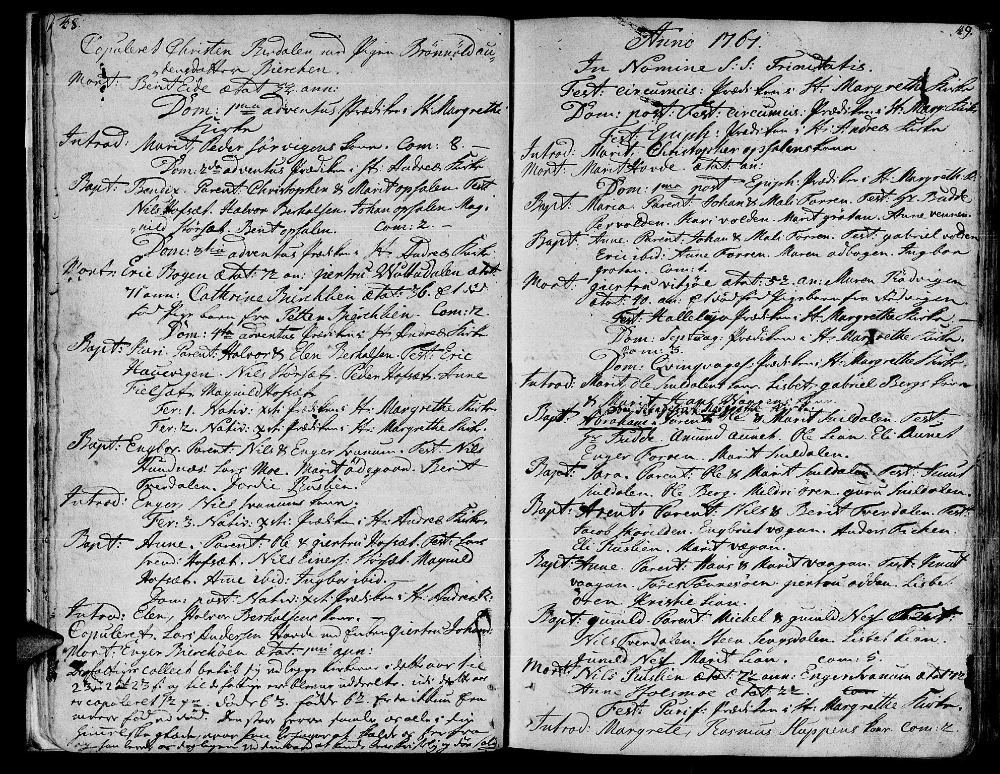 SAT, Ministerialprotokoller, klokkerbøker og fødselsregistre - Sør-Trøndelag, 630/L0489: Ministerialbok nr. 630A02, 1757-1794, s. 48-49