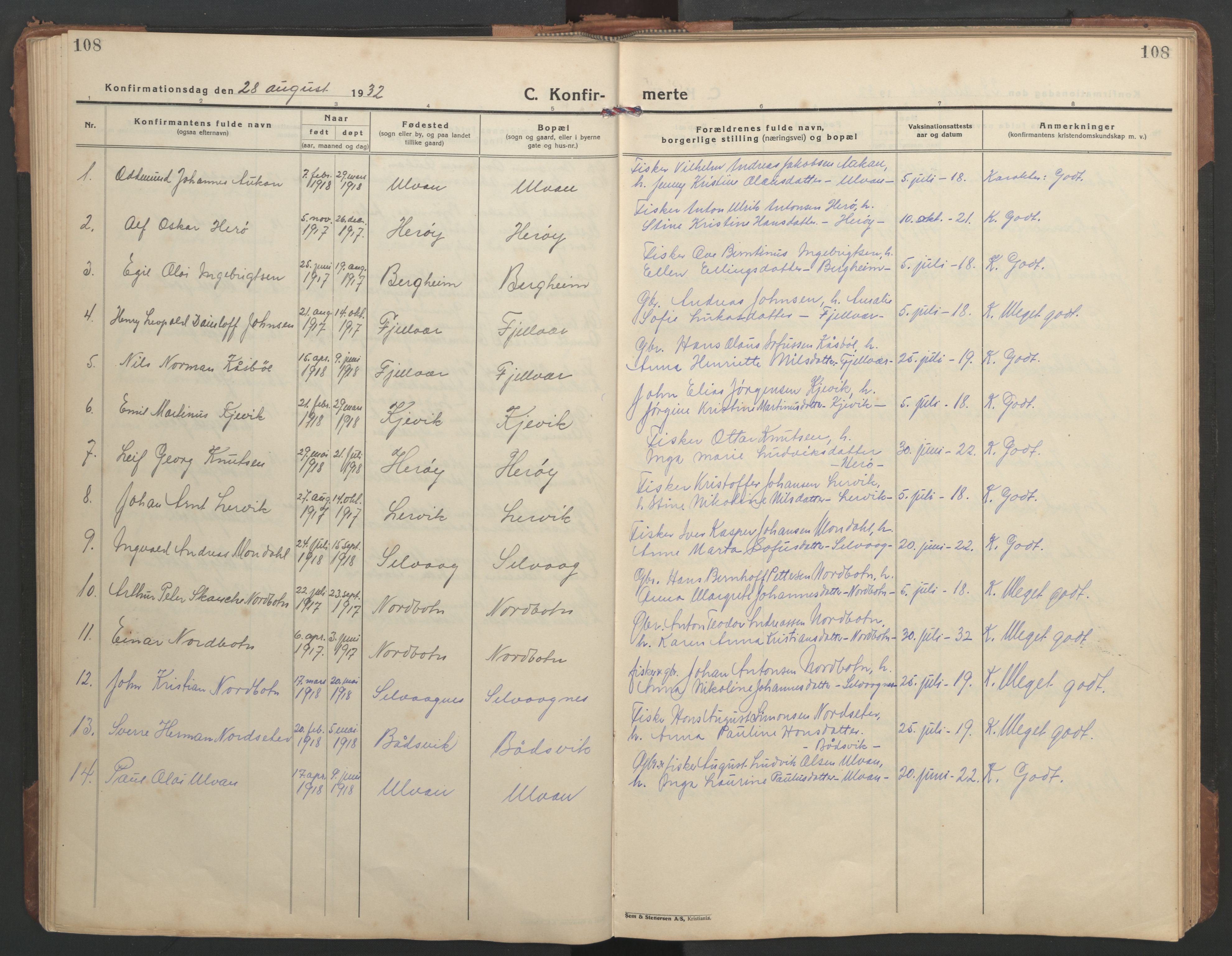 SAT, Ministerialprotokoller, klokkerbøker og fødselsregistre - Sør-Trøndelag, 638/L0569: Klokkerbok nr. 638C01, 1923-1961, s. 108