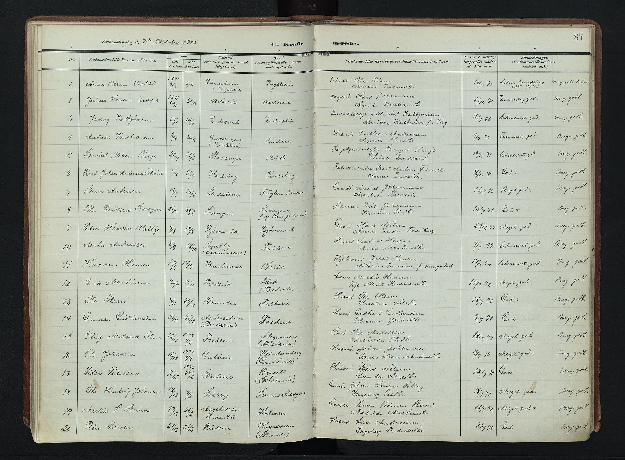 SAH, Søndre Land prestekontor, K/L0007: Ministerialbok nr. 7, 1905-1914, s. 87