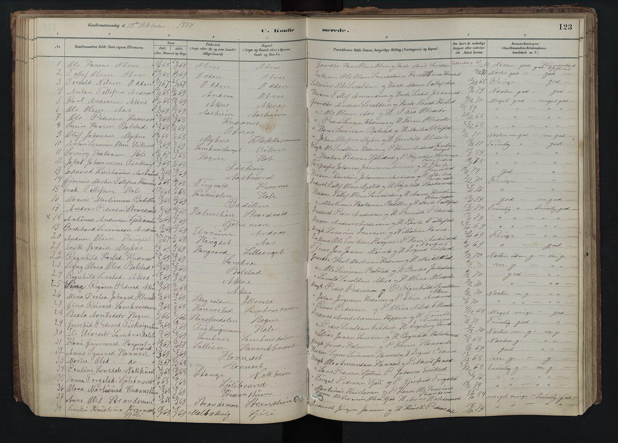 SAH, Rendalen prestekontor, H/Ha/Hab/L0009: Klokkerbok nr. 9, 1879-1902, s. 123