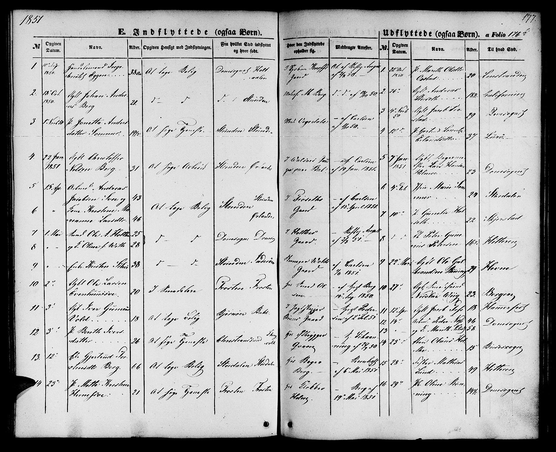 SAT, Ministerialprotokoller, klokkerbøker og fødselsregistre - Sør-Trøndelag, 604/L0184: Ministerialbok nr. 604A05, 1851-1860, s. 177