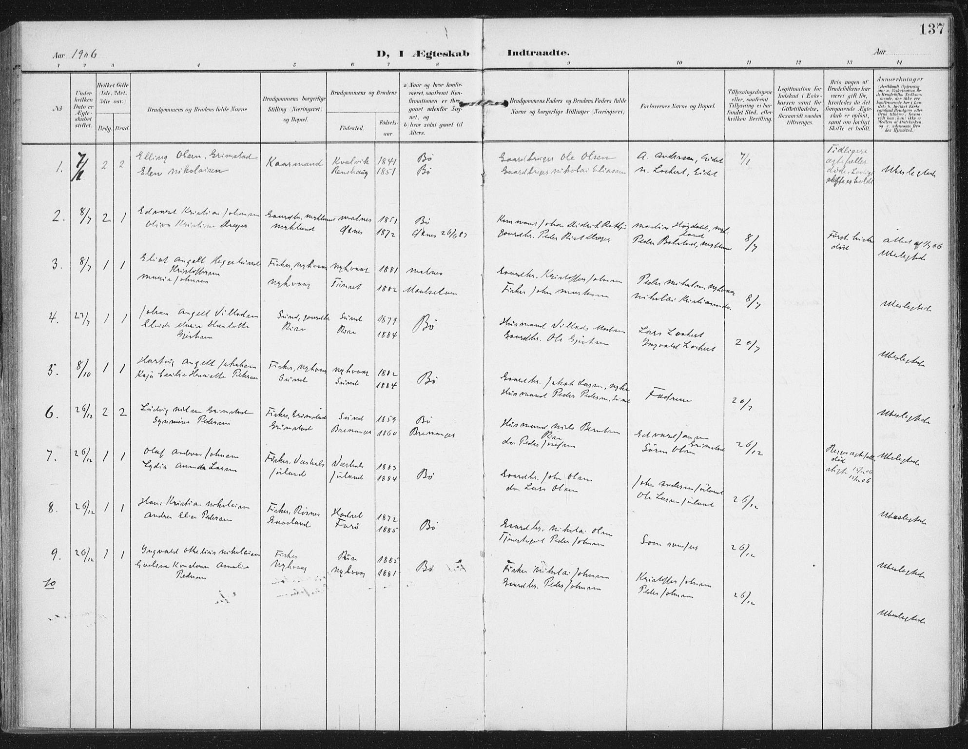 SAT, Ministerialprotokoller, klokkerbøker og fødselsregistre - Nordland, 892/L1321: Ministerialbok nr. 892A02, 1902-1918, s. 137