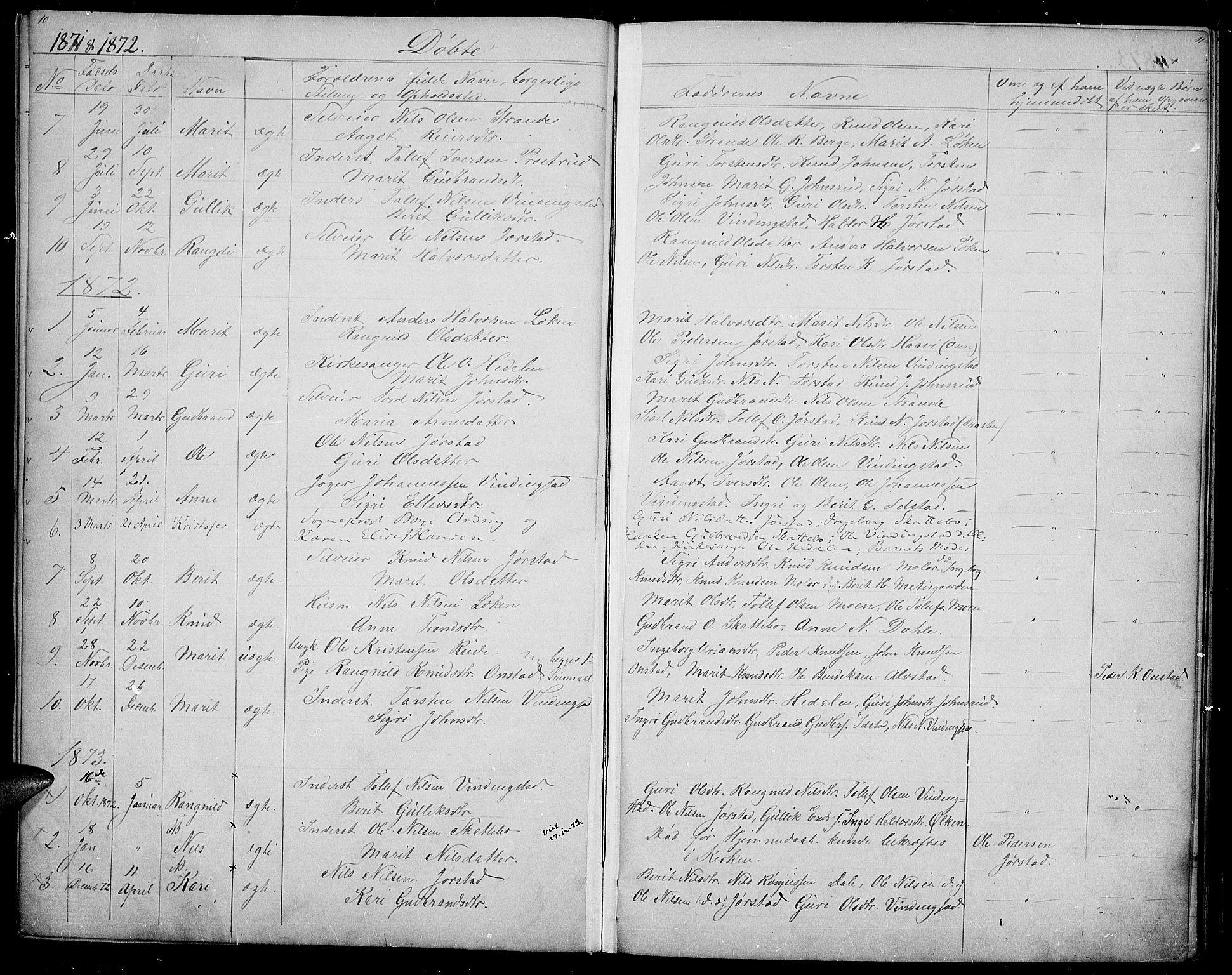 SAH, Øystre Slidre prestekontor, Klokkerbok nr. 2, 1866-1886, s. 10-11