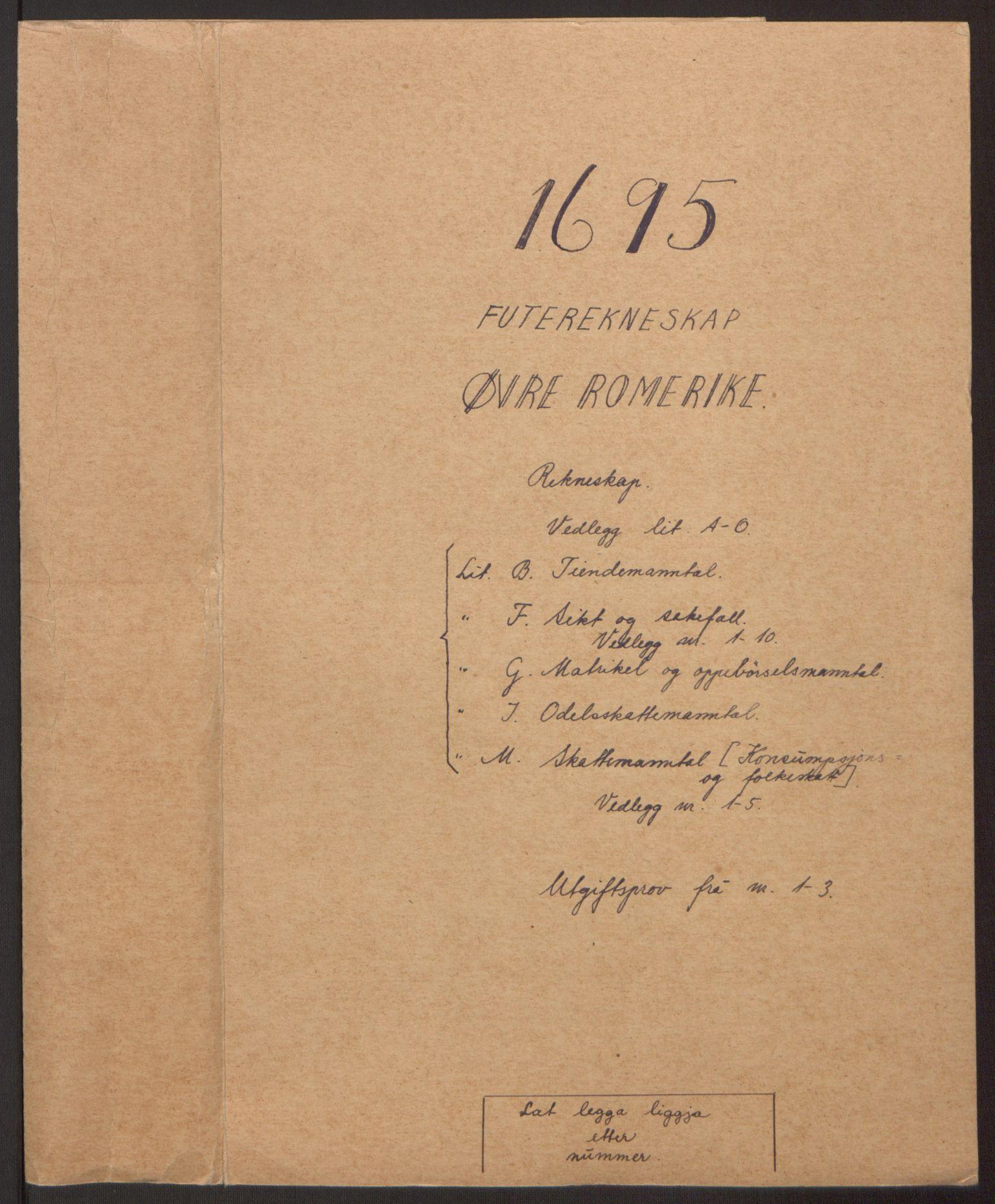 RA, Rentekammeret inntil 1814, Reviderte regnskaper, Fogderegnskap, R12/L0707: Fogderegnskap Øvre Romerike, 1695, s. 2